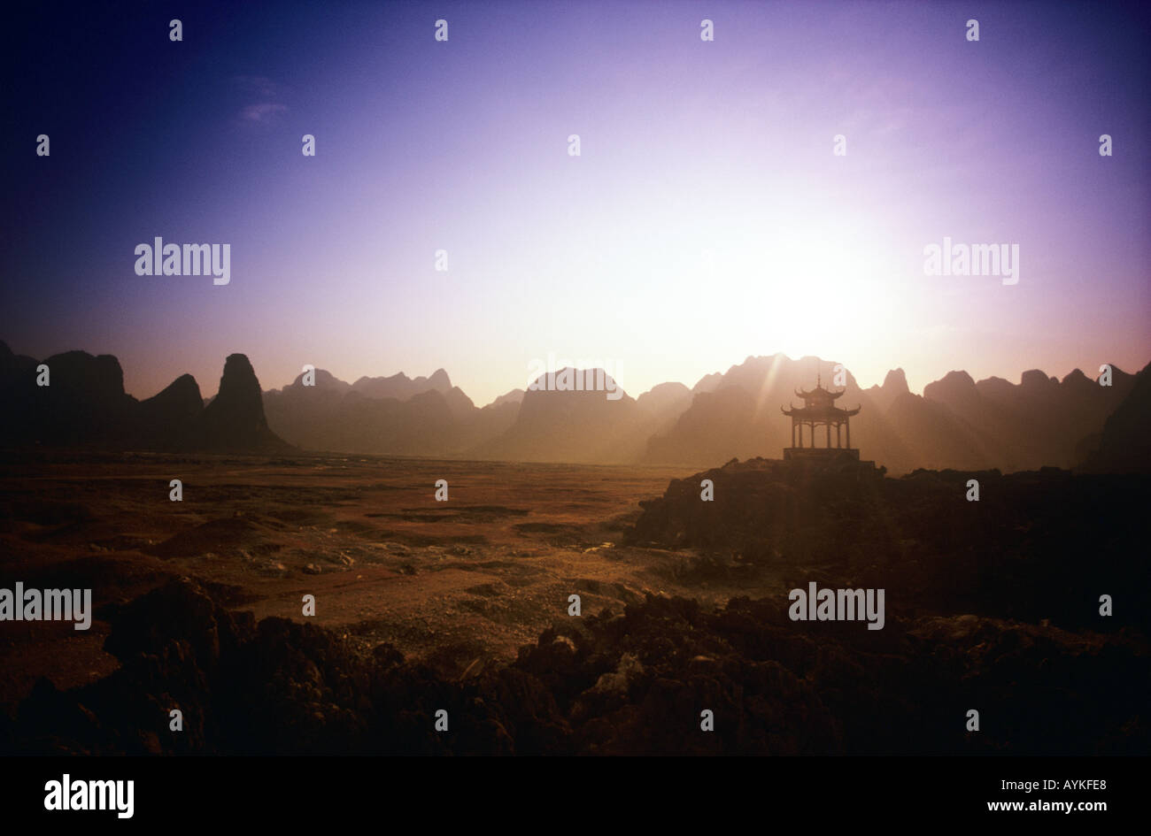 sunset over mountains in Guangxi Province southern China  Stock Photo