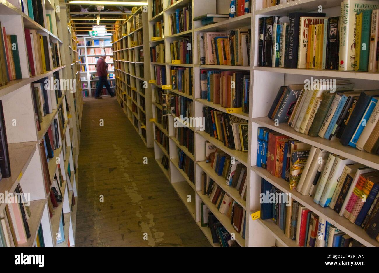 Shelf of books at Richard Booths Bookshop Hay on Wye Powys Wales UK EU the World's largest secondhand bookshop - Stock Image