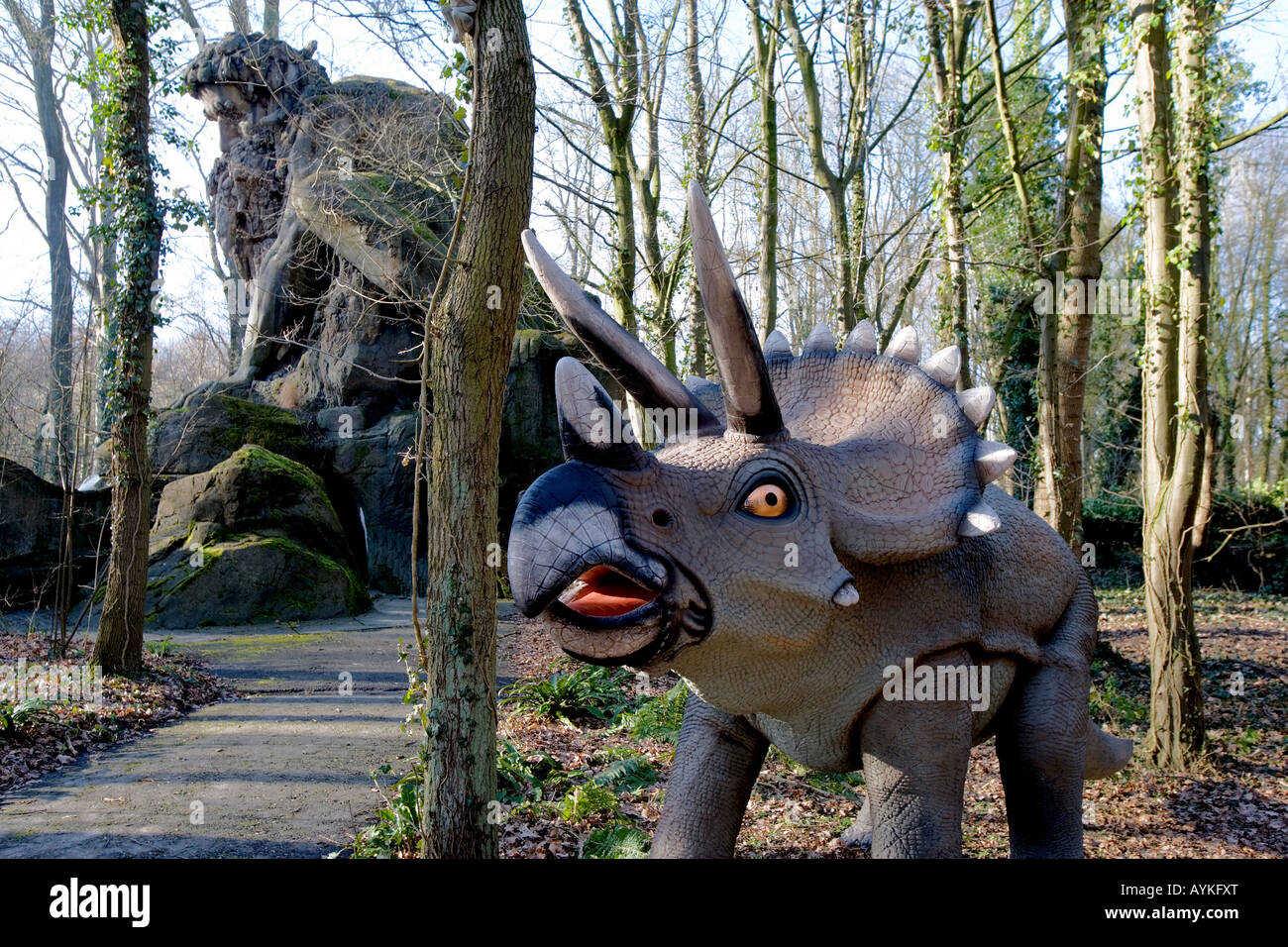 Saurier in Park Mondo Verde Dinosaur at the pleasure grounds of Mondo Verde Netherlands - Stock Image