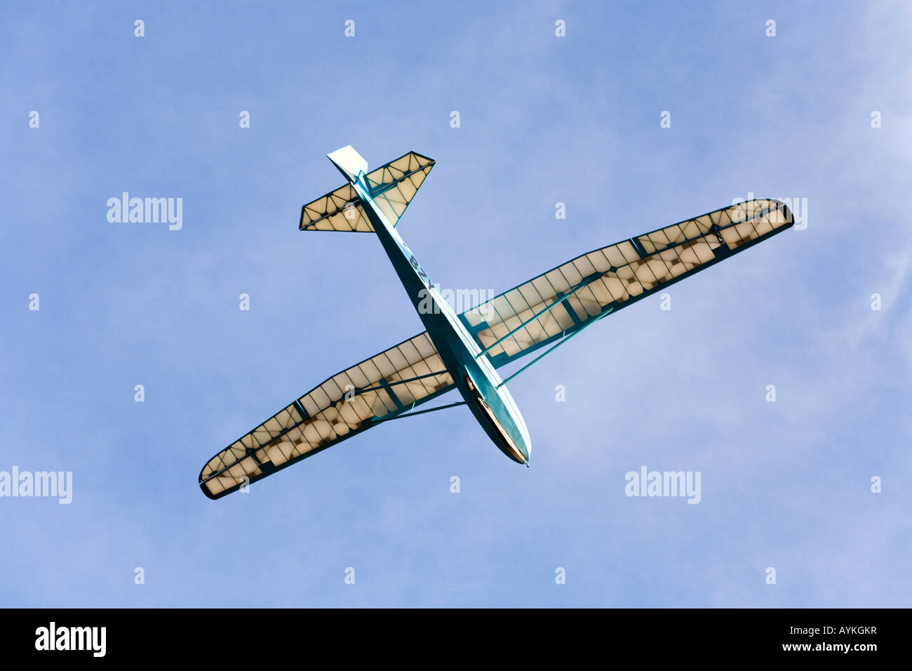 Vintage glider coming in to land on the Long Mynd, Shropshire - Stock Image