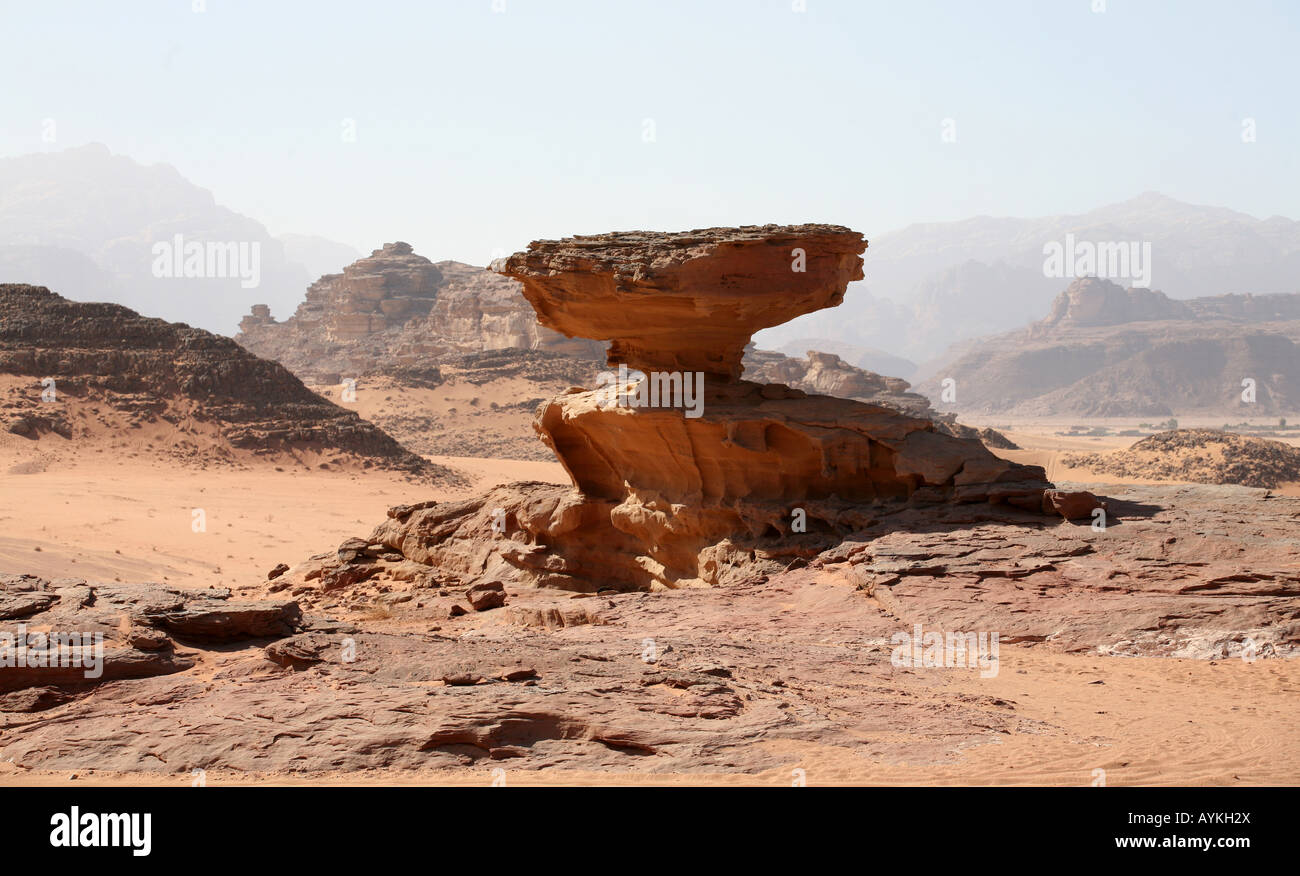 The scenery around Wadi Rum The Bedouins have lived for thousands of years in the desert around Wadi Rum - Stock Image