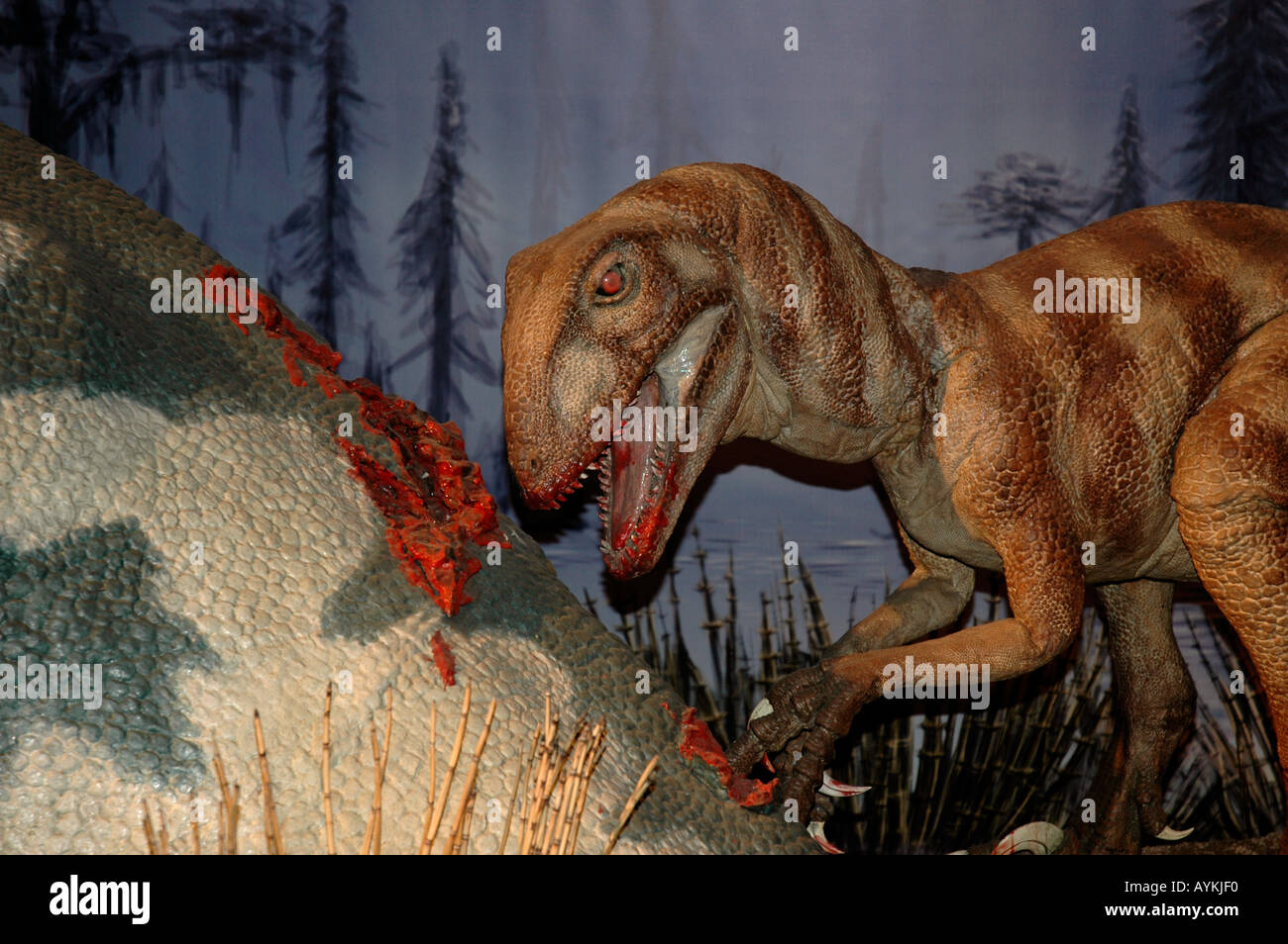 Deinonychus eating - Stock Image
