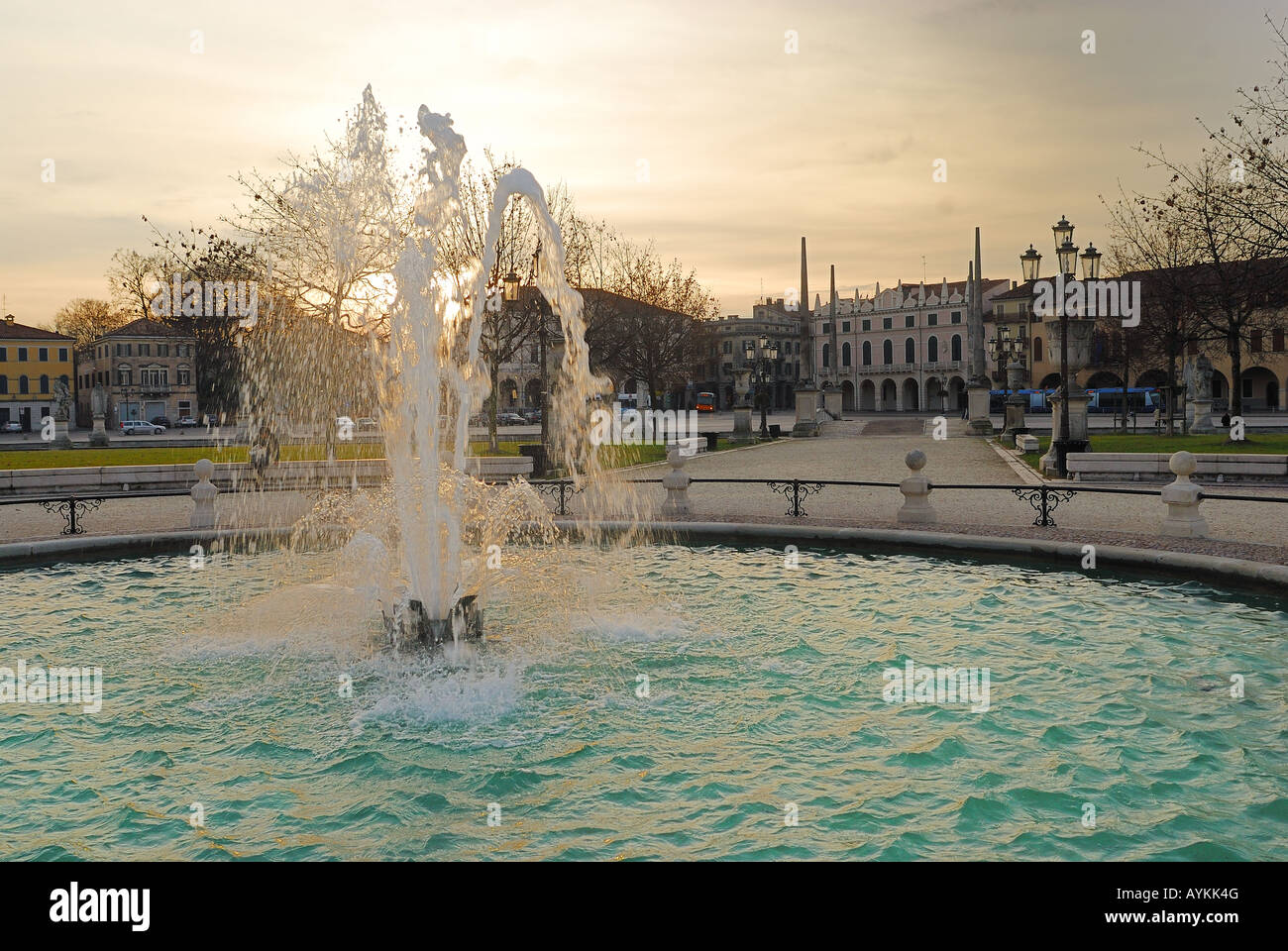 Padua,Veneto,Italy,Prato della Valle,one of the largest squares in Europe at sunset - Stock Image