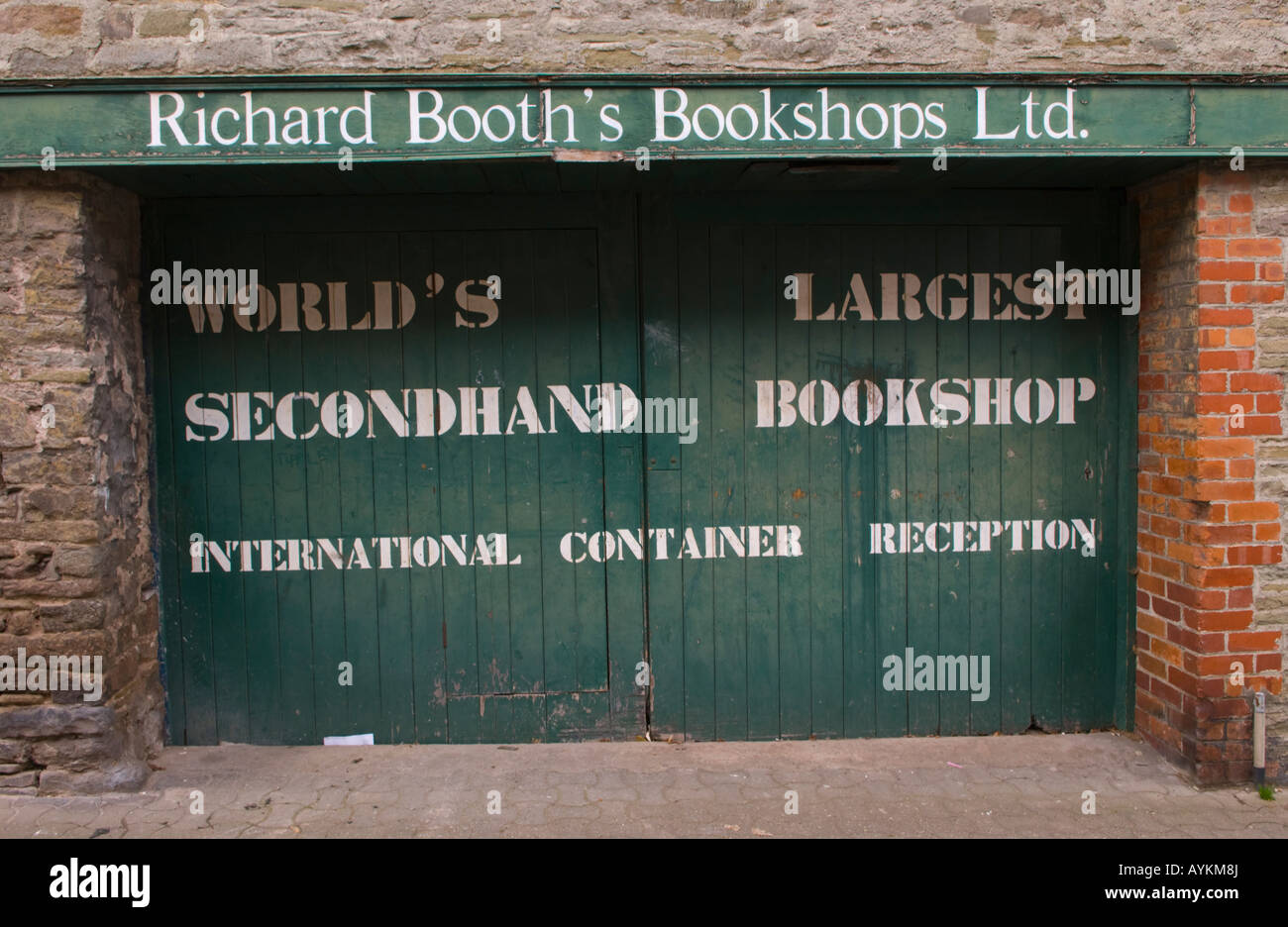 Richard Booths Bookshop Hay on Wye Powys Wales UK EU rear entrance for deliveries to the World's largest secondhand - Stock Image