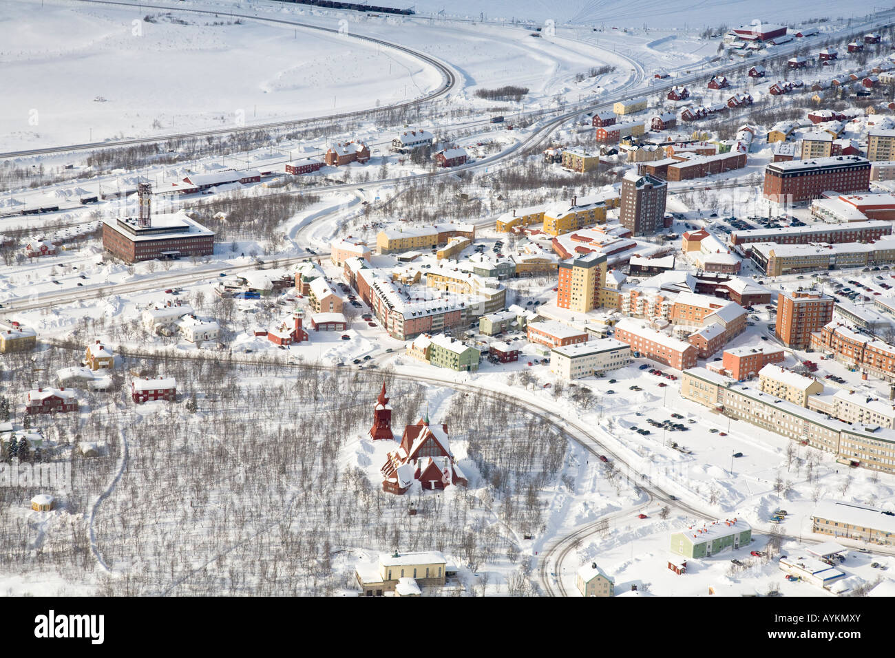 Aerial view of Kiruna in northern Sweden - Stock Image