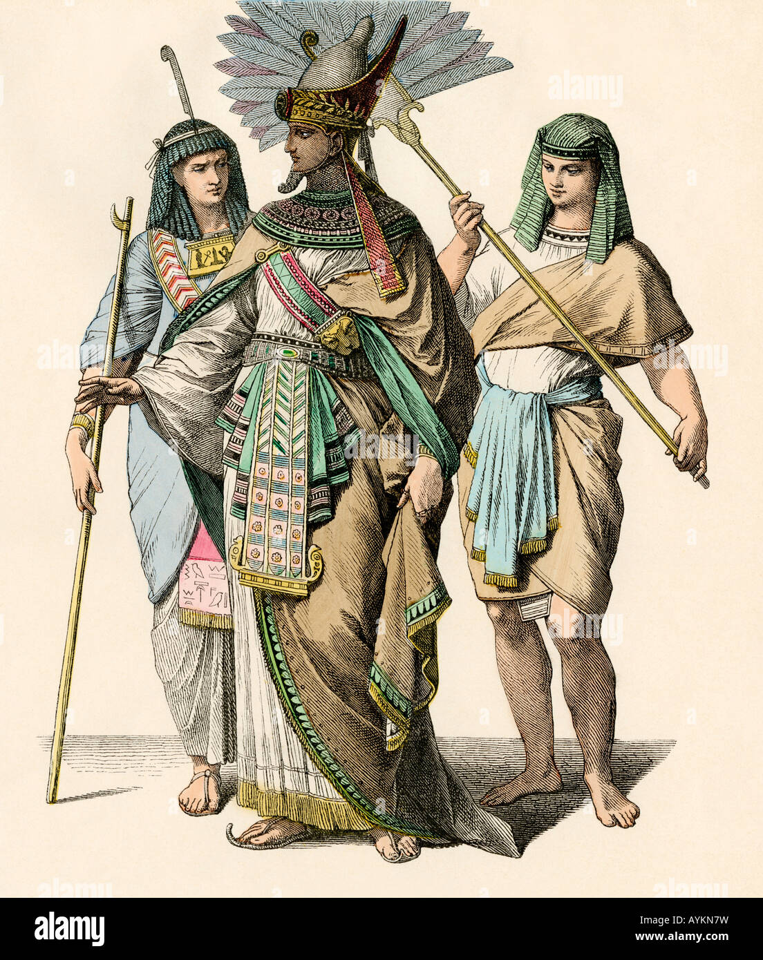 Egyptian pharaoh with a court official and a fan-bearer. Hand-colored print - Stock Image