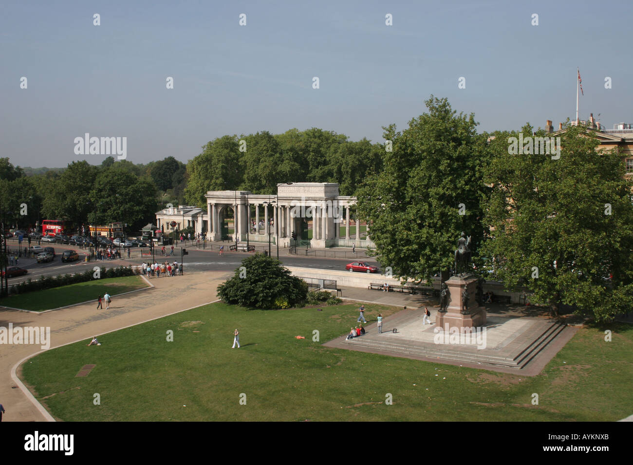 View from Wellington Arch aka Constitution Arch towards the Hyde Park Corner Screen London England UK Europe - Stock Image