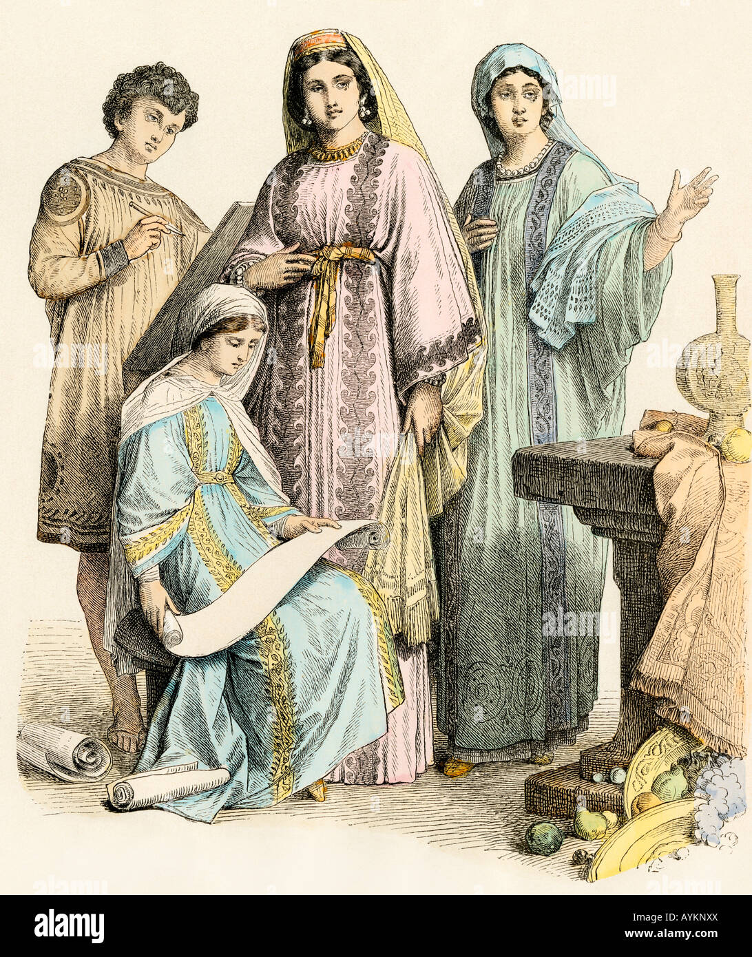 Early Christians reading a scroll in the time of the Roman Empire. Hand-colored print - Stock Image