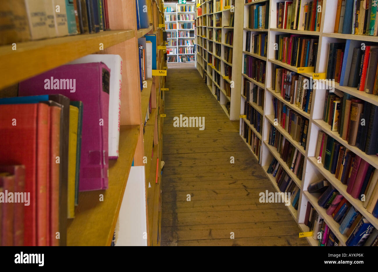 Shelf of books at Richard Booths Bookshop Hay on Wye Powys Wales UK EU the World's largest secondhand bookshop - Stock Image