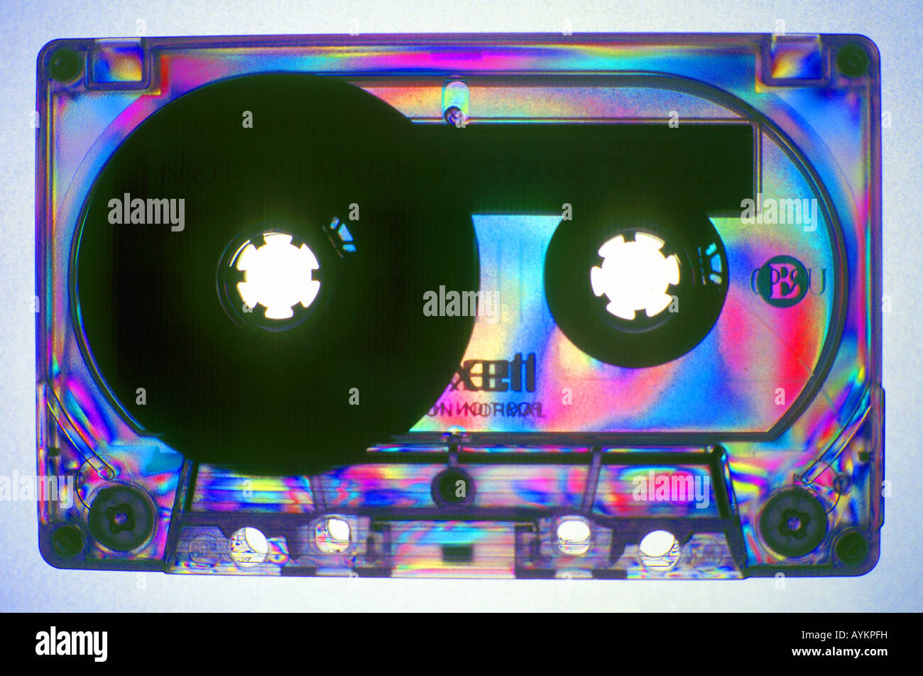 audio tape cassette in polarized light - Stock Image