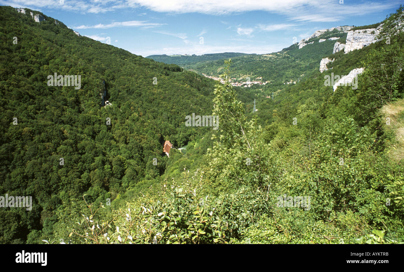 Lous valley with distant view of Lods. Doubs Franche-Comte France. - Stock Image