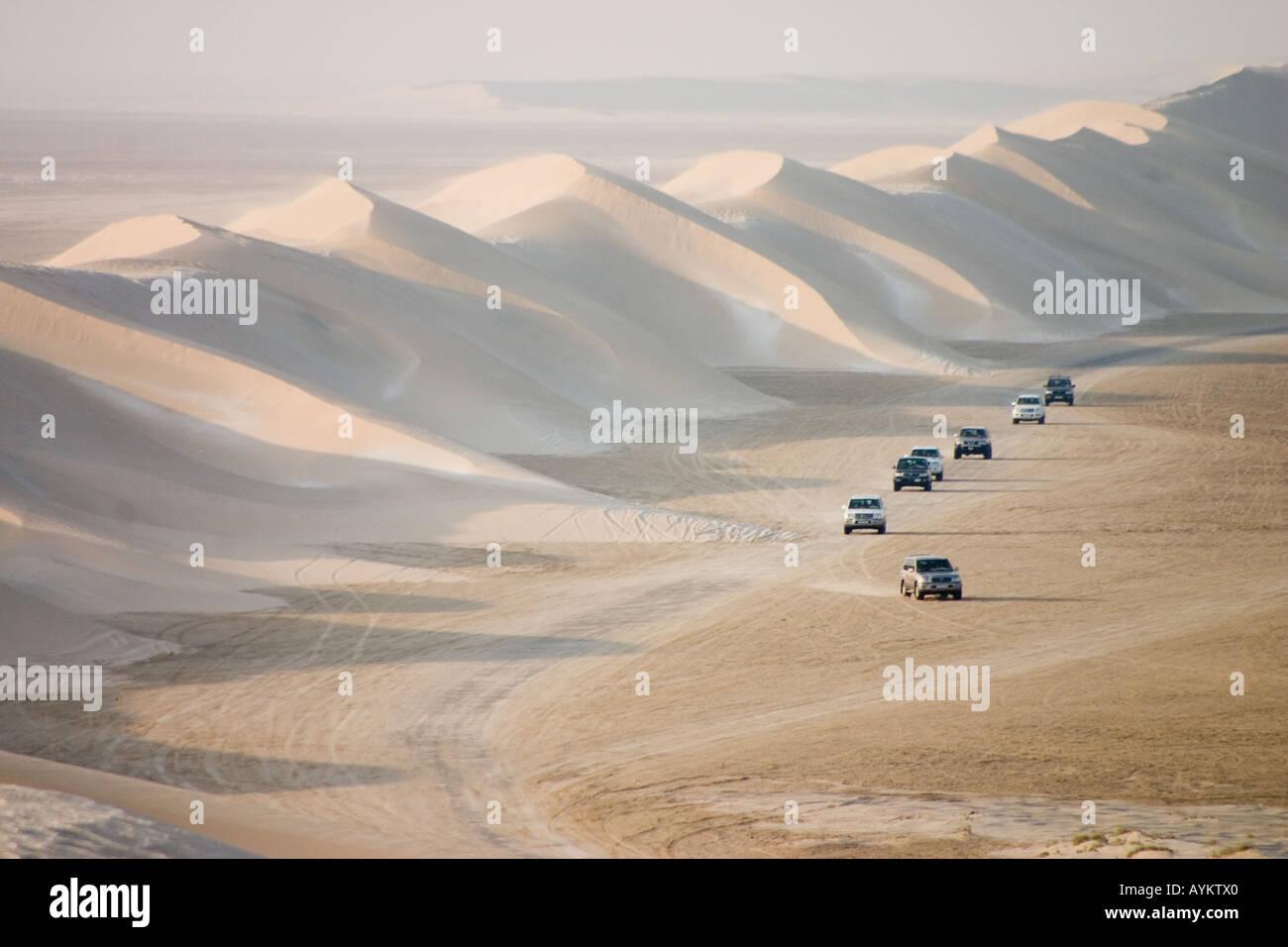 Sand dunes near the inland sea qatar - Stock Image
