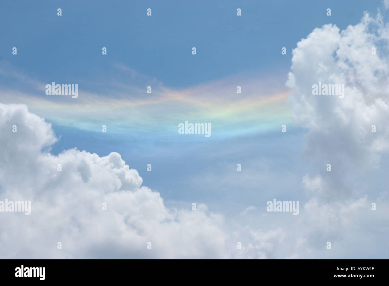 a colorful circumhorizon arc rare beautiful weather phenomena - Stock Image