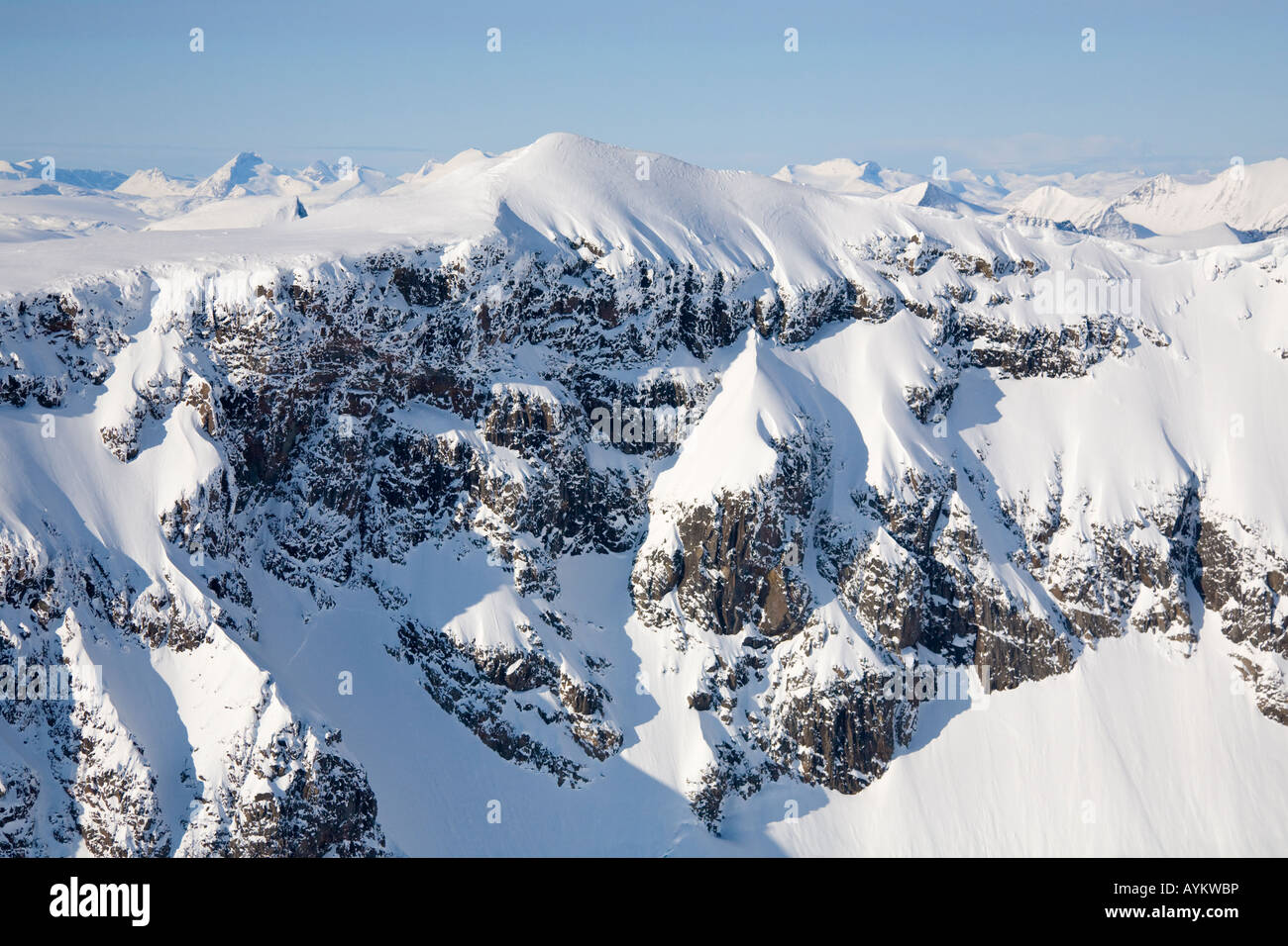 Aerial view on the Kebnekaise massif in northern Sweden - Stock Image