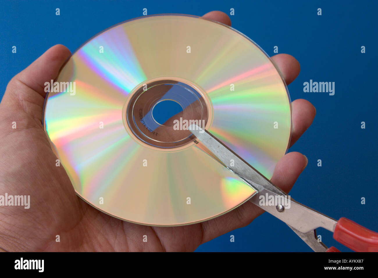 scissors cutting a cd-rom concept data security archiving destroy privacy secrecy information - Stock Image