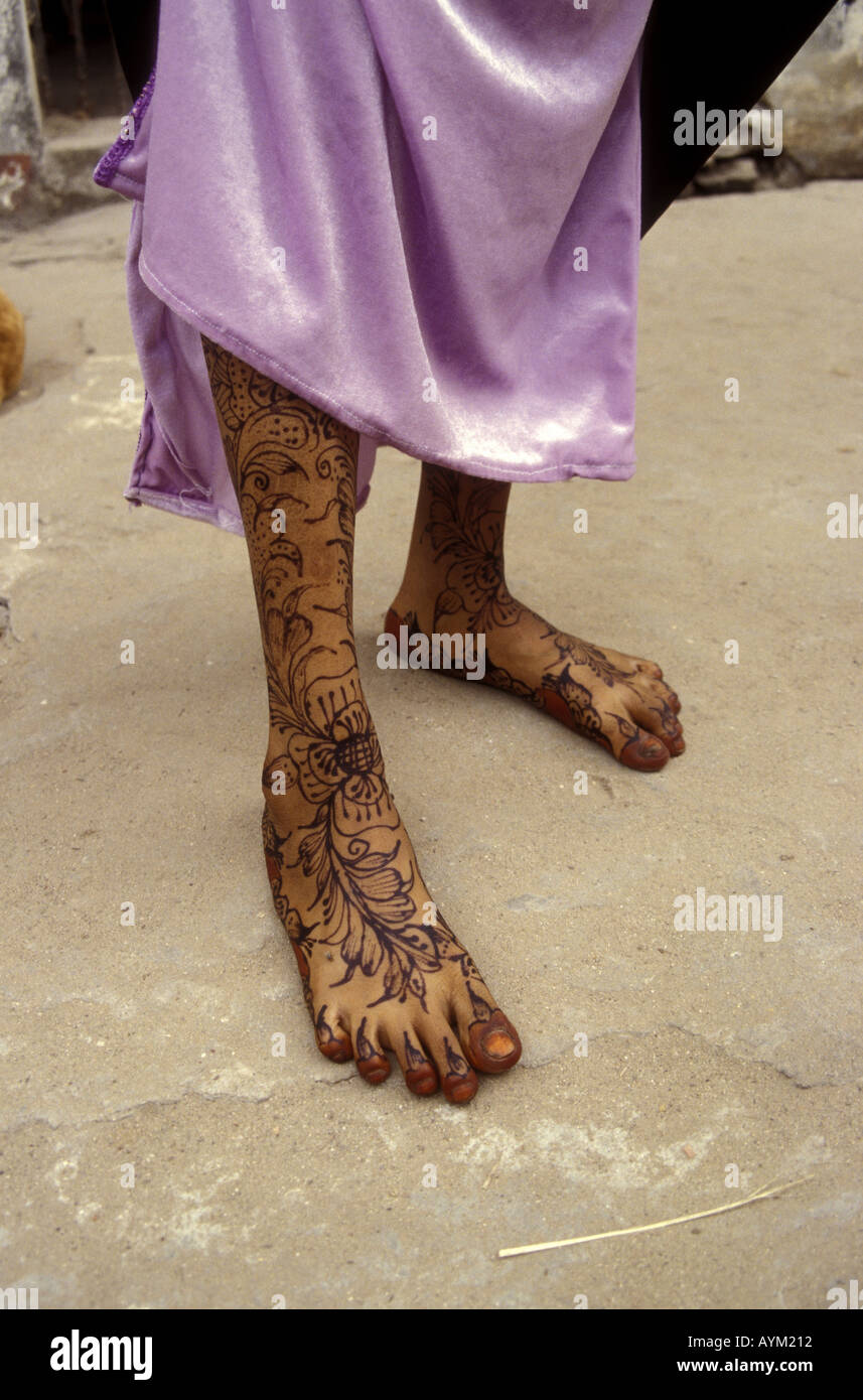 The legs and feet of a young woman of Lamu island Kenya coast East Africa - Stock Image
