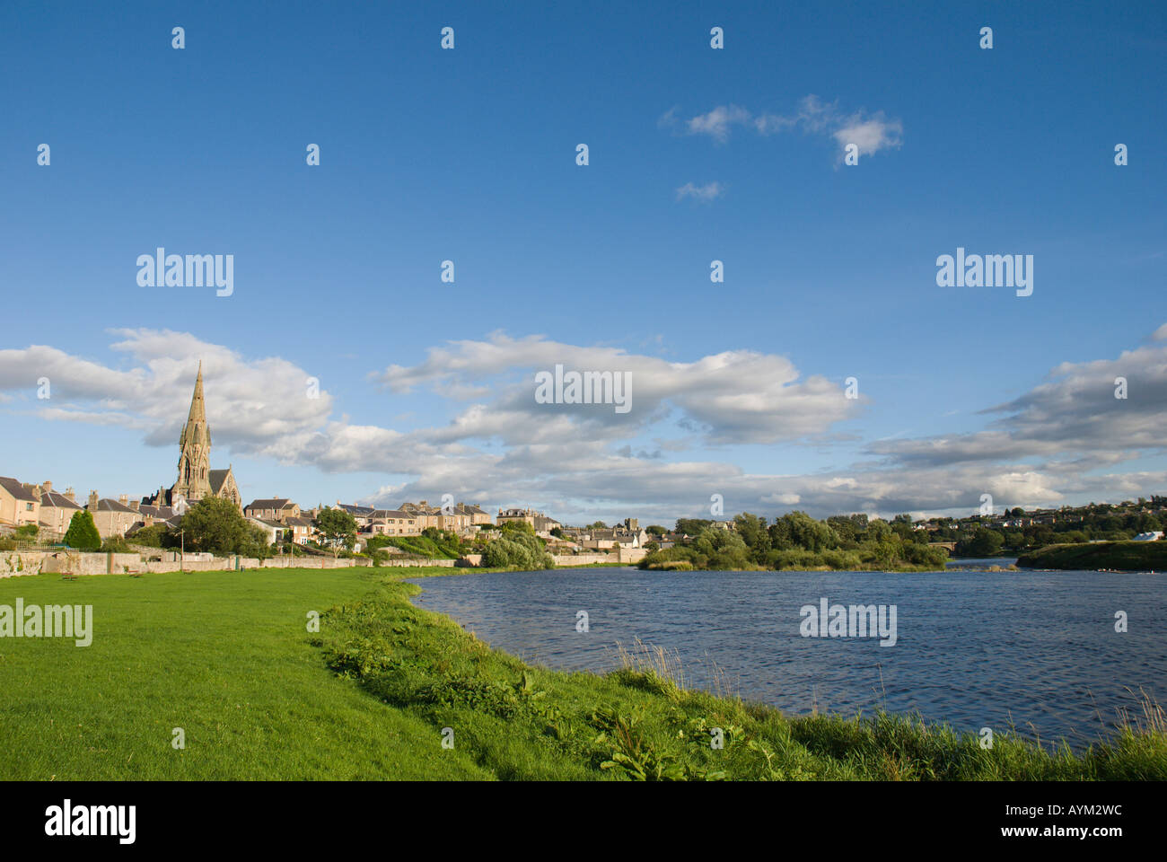 River Tweed Kelso Scottish Borders UK view of town with churches mill and abbey from the Cobby - Stock Image