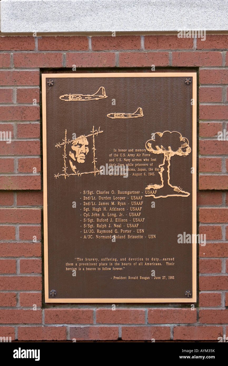 Prisoner of War Memorial Plaque Recognizing American POW's Killed in Japan During the American Nuclear Bomb - Stock Image