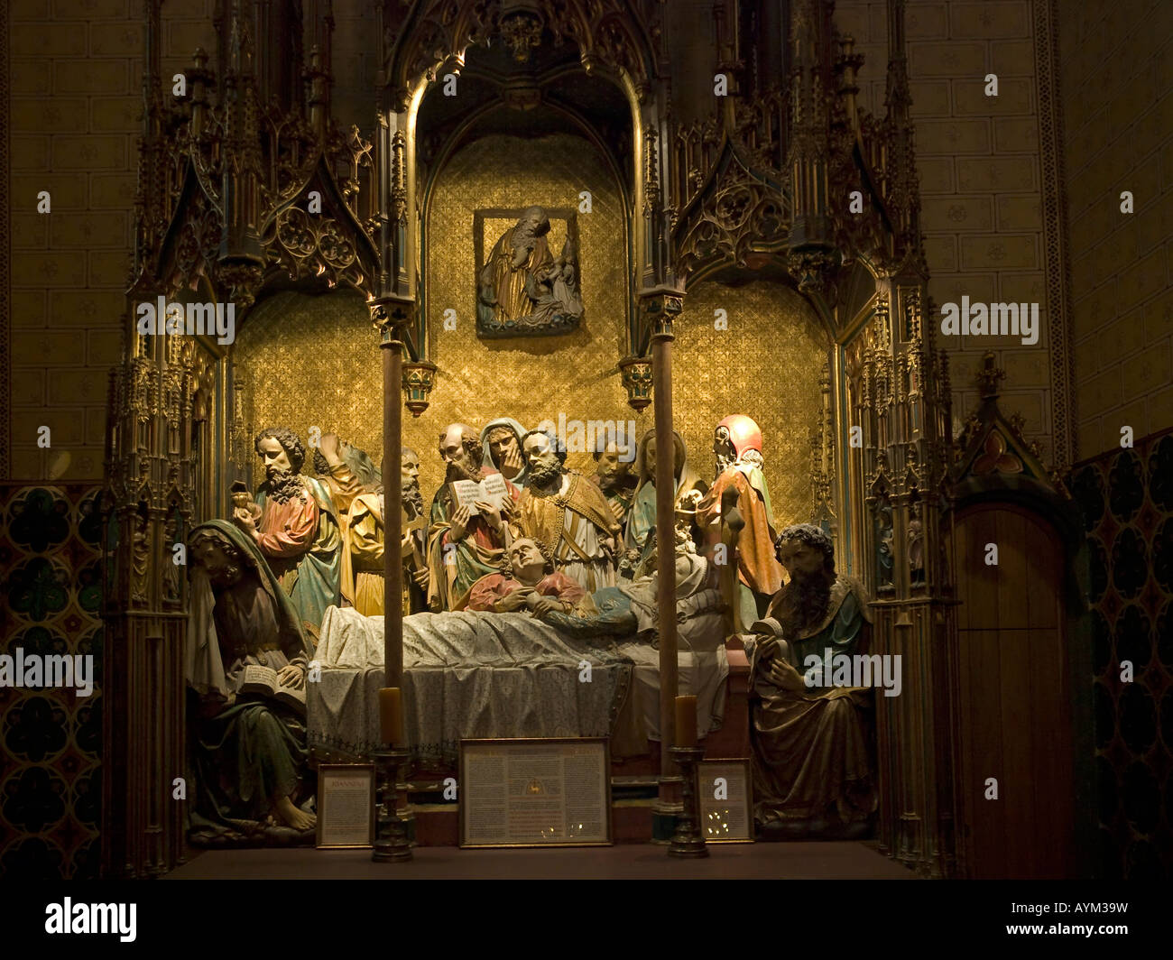 Maria Schlaf Altar altar with sleeping Mary in the saint Mary Chapel in Saint Bartholomeus Cathedral - Stock Image