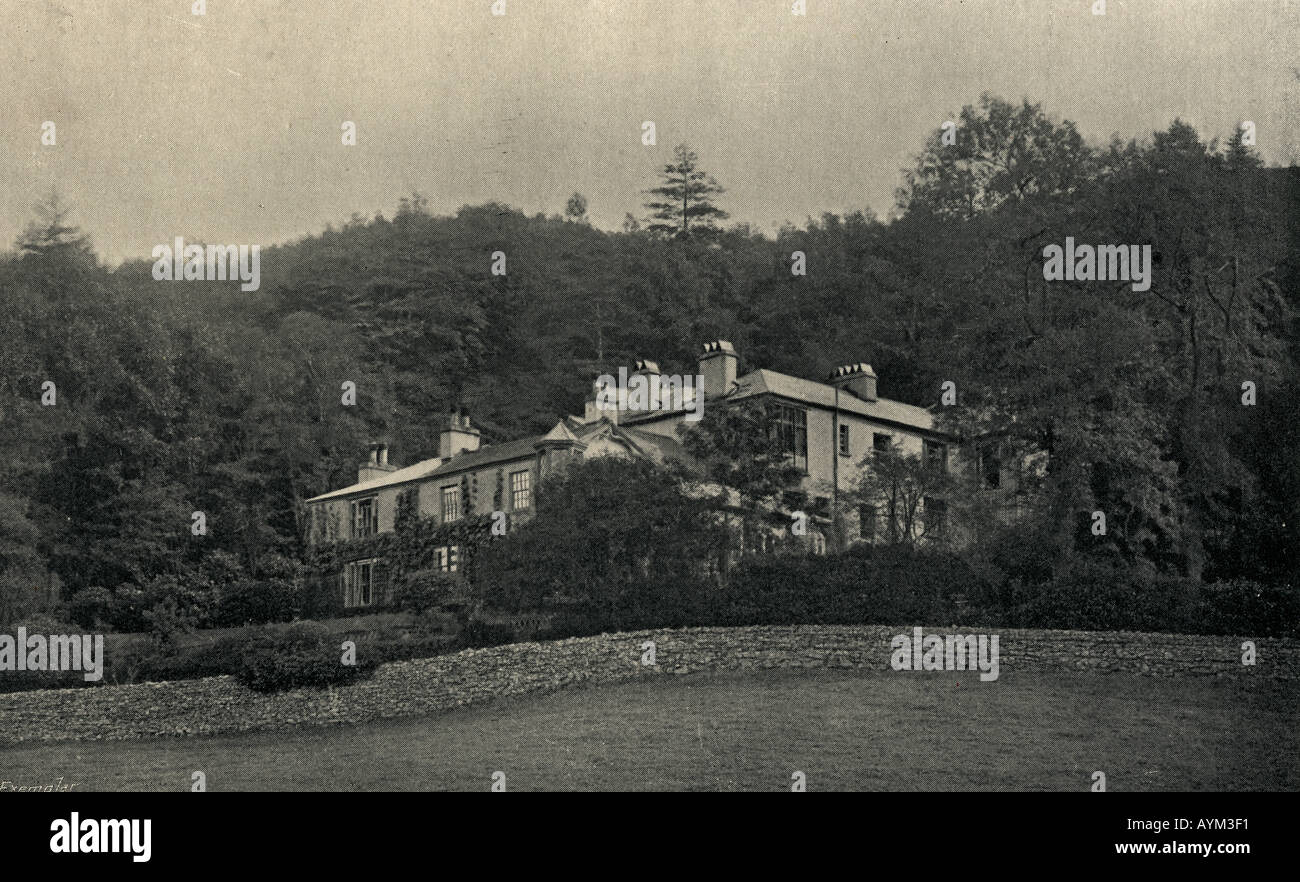 Ruskins home, Brantwood in the Lake District, England.  John Ruskin, 1819 - 1900.  English writer, art critic and reformer. - Stock Image