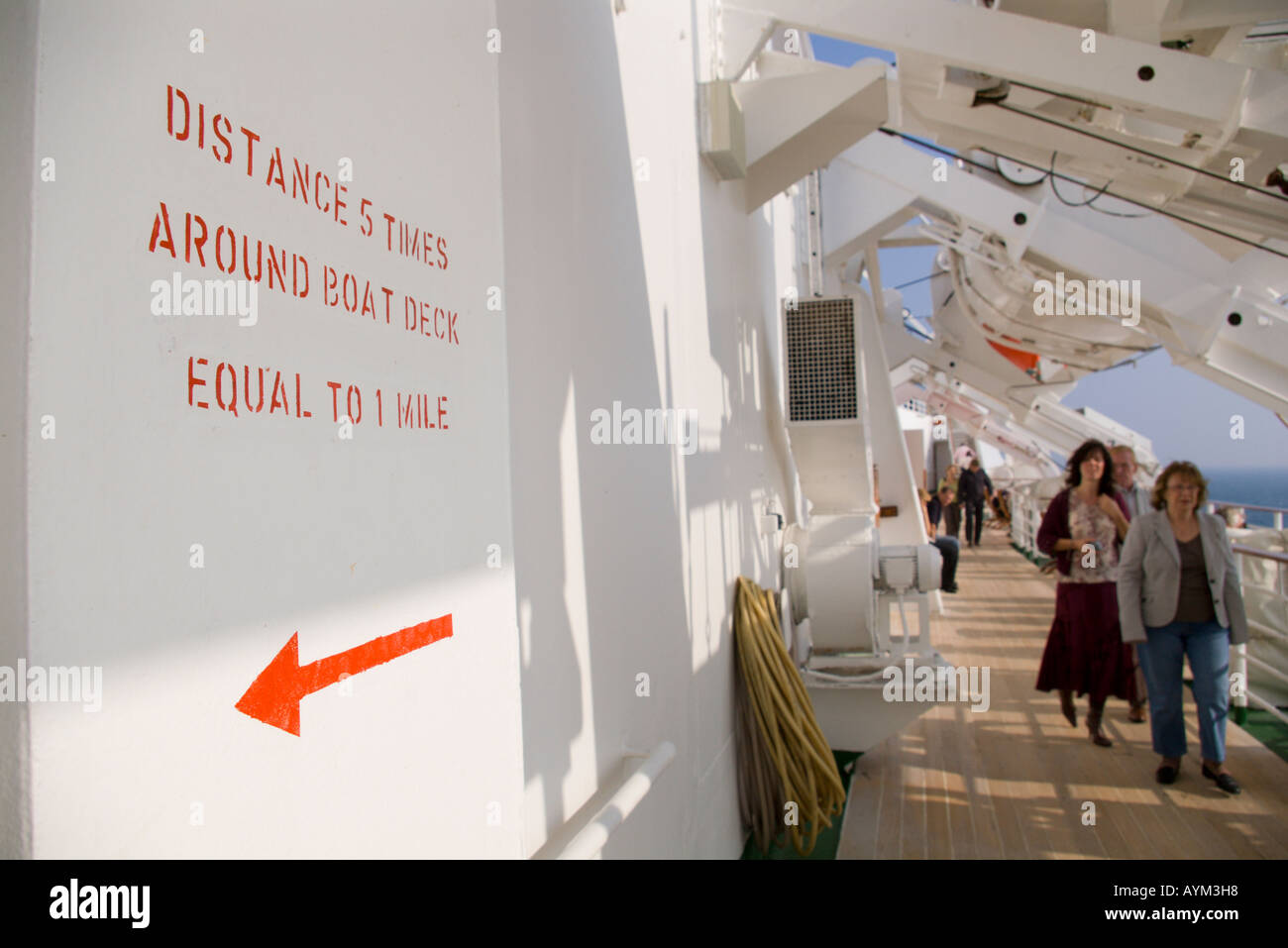 Distance five times around the deck equals one mile notice for walkers joggers and runners on board the QE2 cruise ship - Stock Image