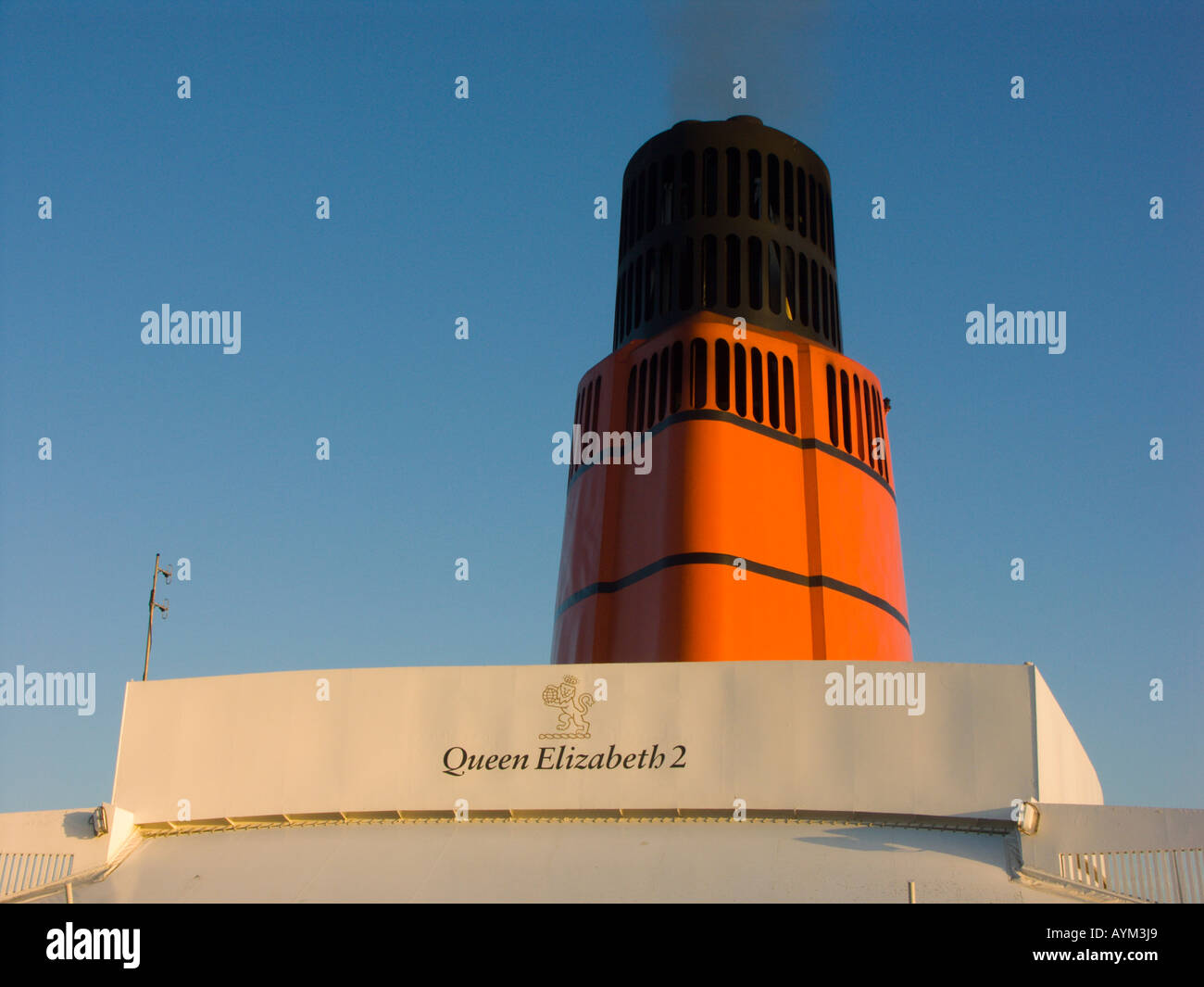 Detail of the QE2 cruise ship the funnel - Stock Image