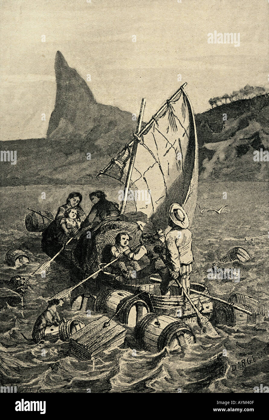 The Swiss Family Robinson rowing ashore after the shipwreck. - Stock Image