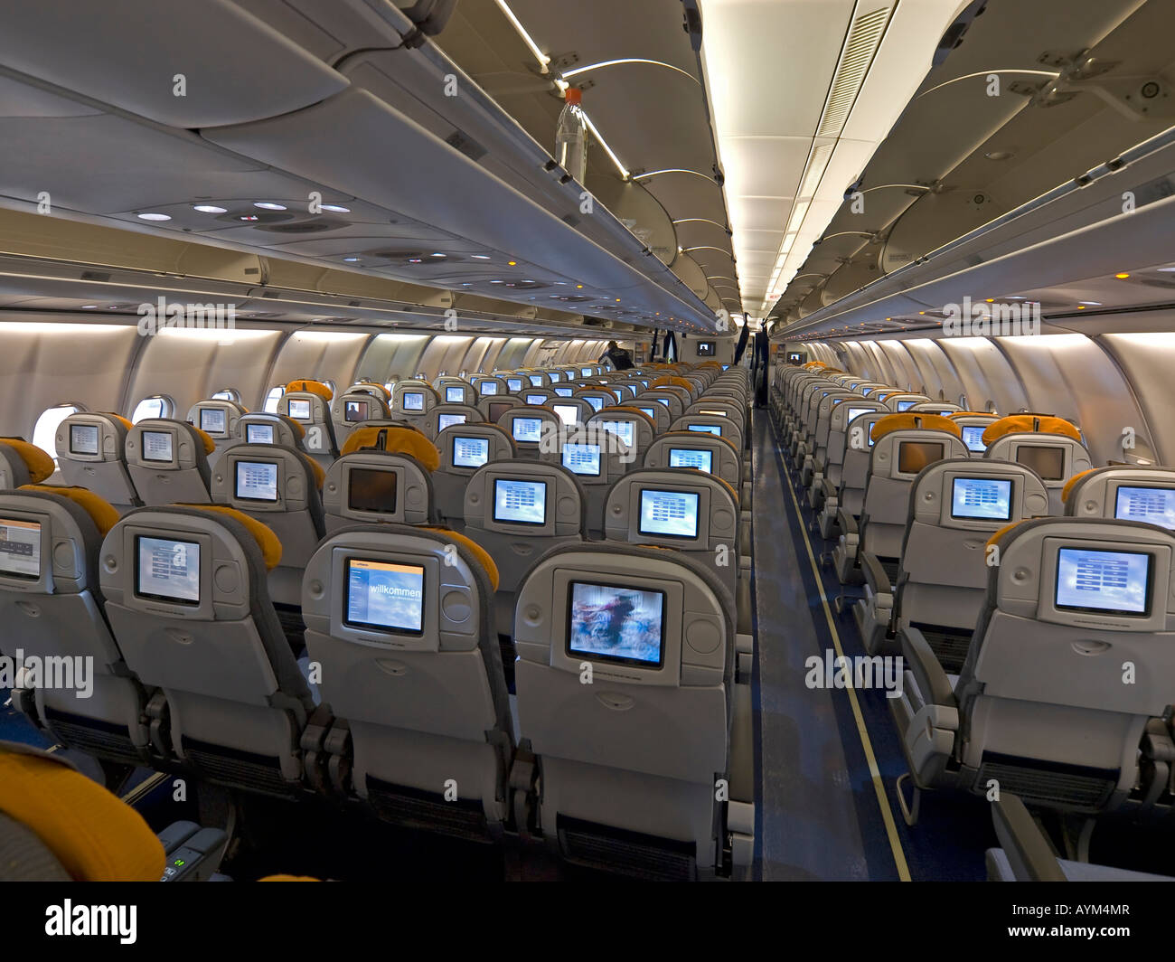 Interior View In An Aeroplane Cabin Seats Economy Class