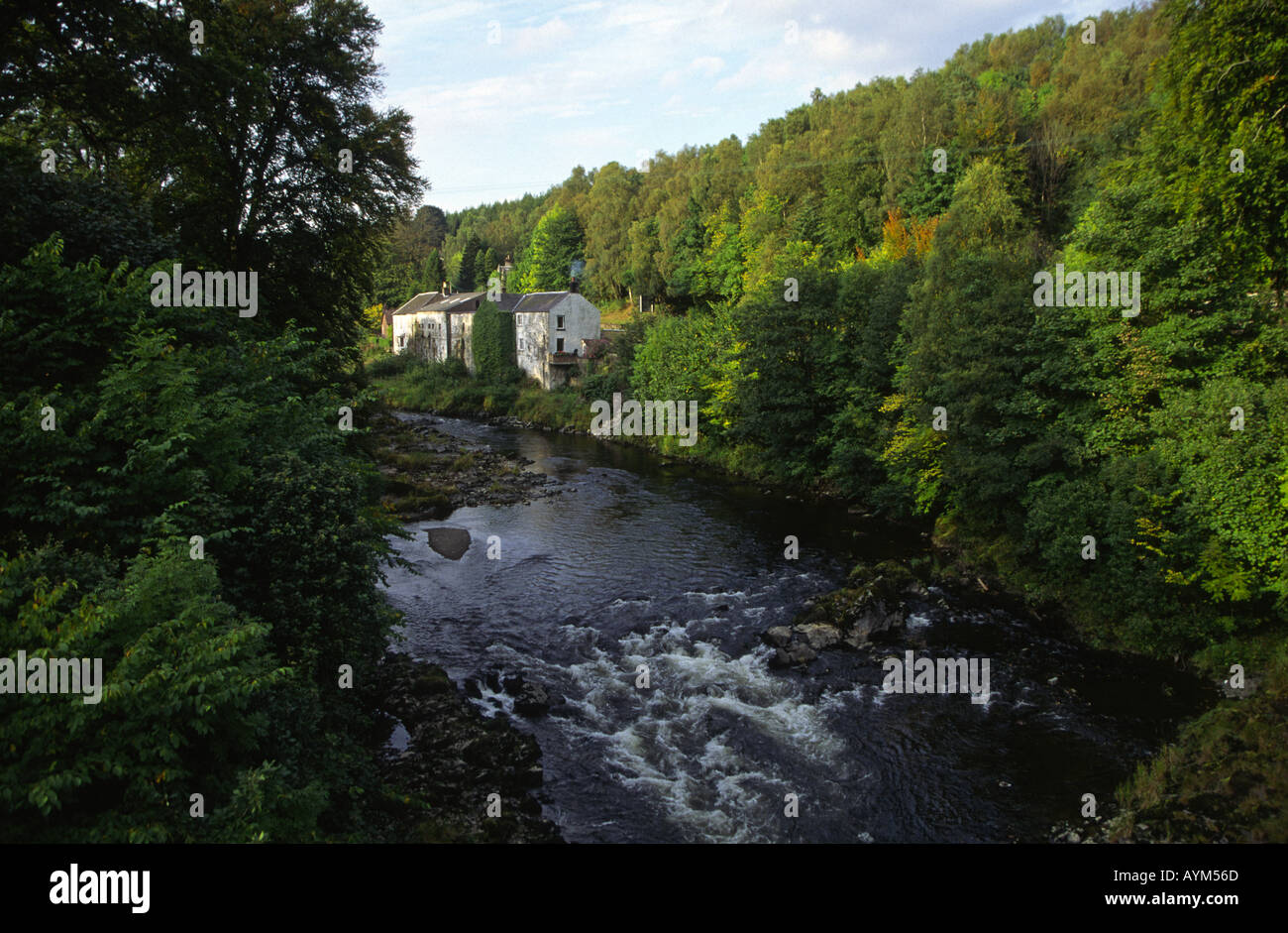 Old Buildings On The river Esk Langholm Dumfrieshire Scotland UK - Stock Image