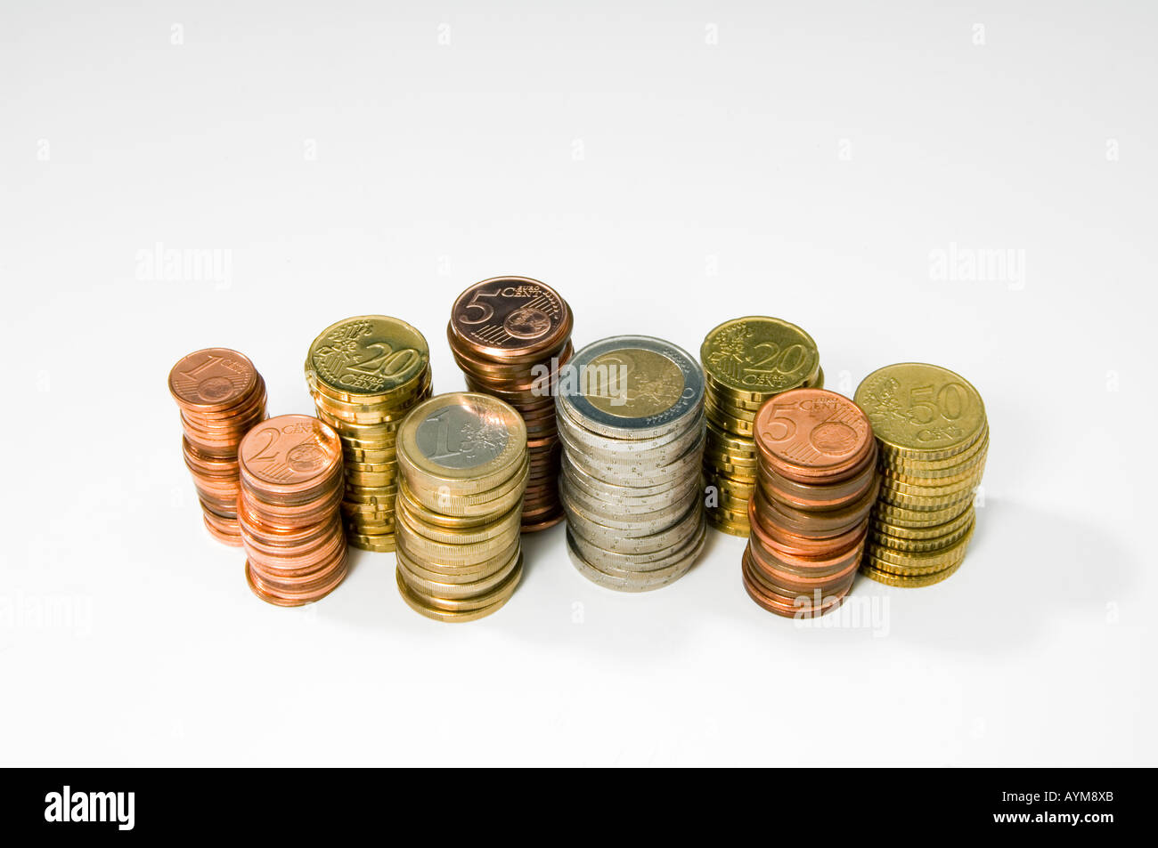 Several piles of assorted Euro coins - Stock Image