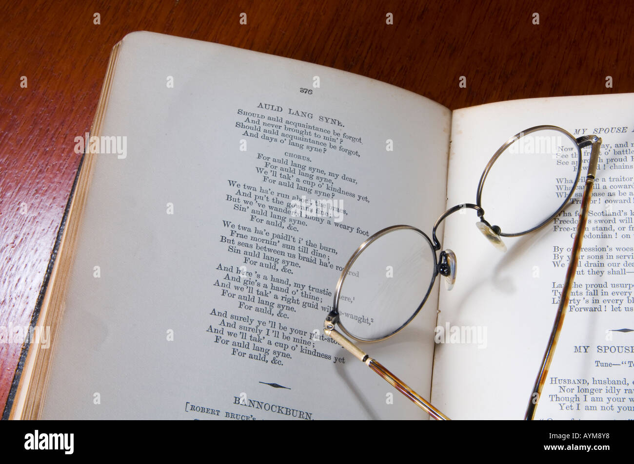 The poem Auld Lang Syne, written by the Scottish author, Robbie Burns - Stock Image