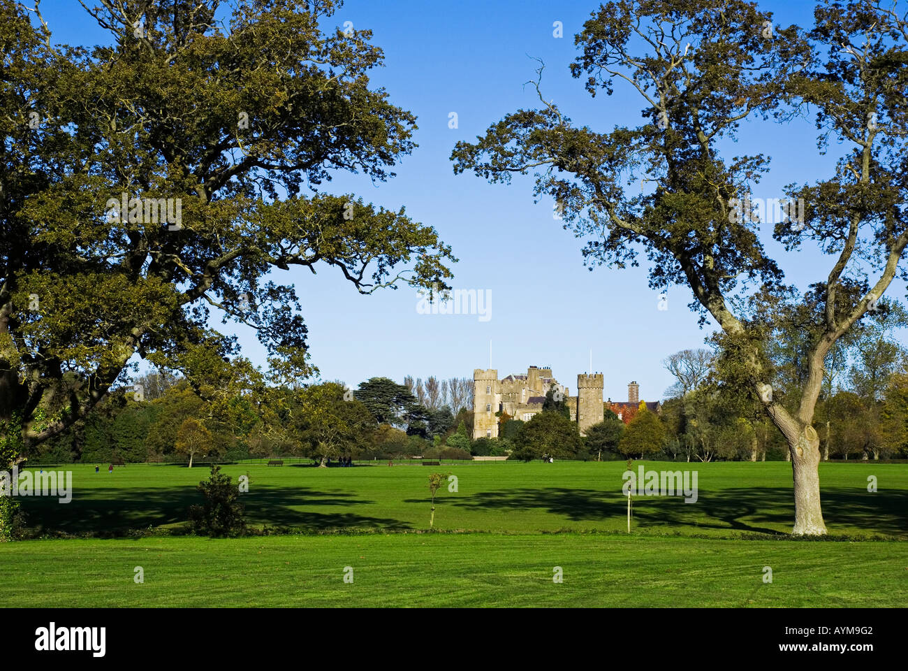 Malahide Castle, a stately home open to the public, set in parkland in north county Dublin, Ireland - Stock Image