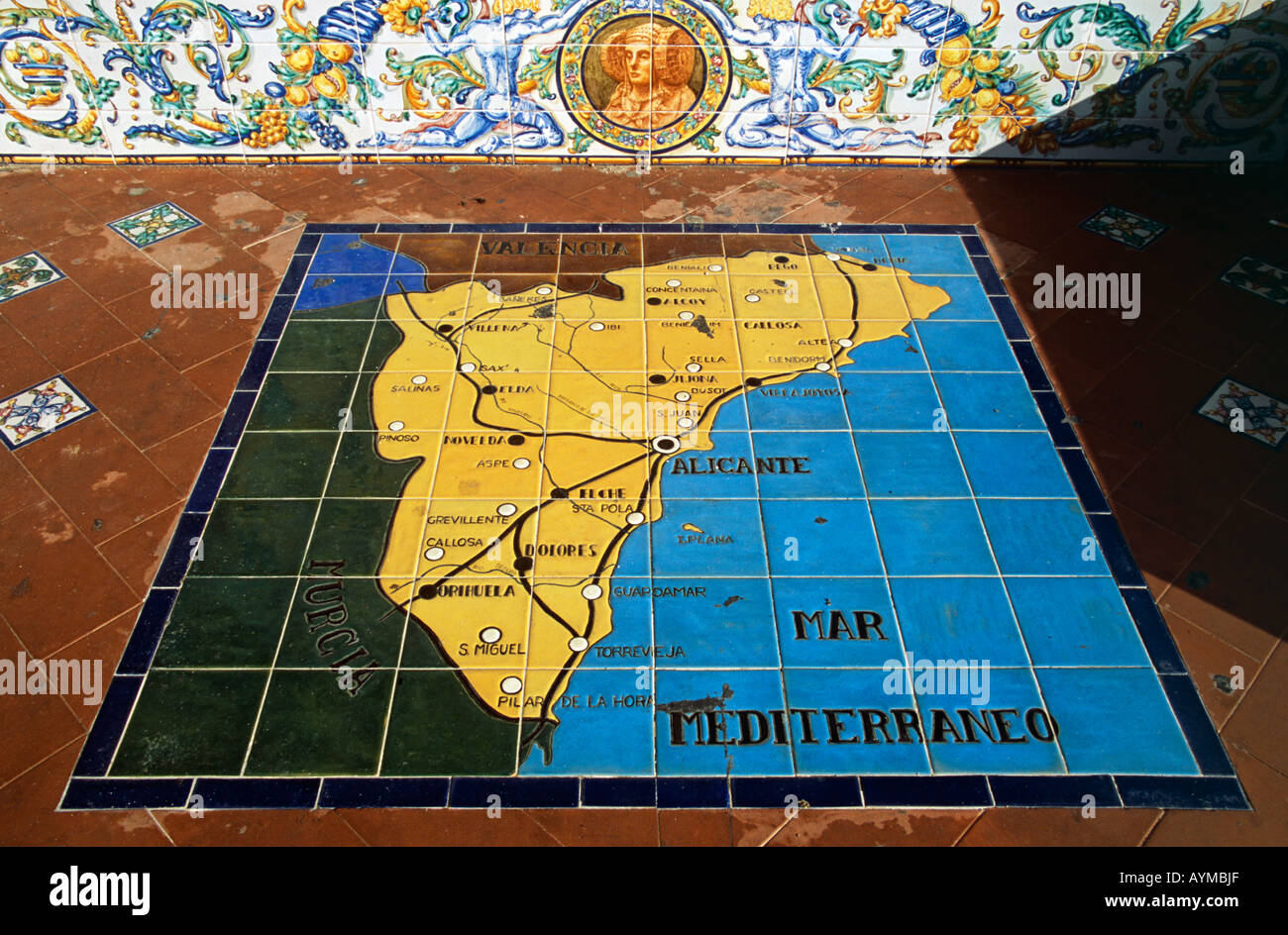 Map Of Spain Alicante Area.Tiled Panel On The Ground Depicting Map Of Alicante Region Of Spain