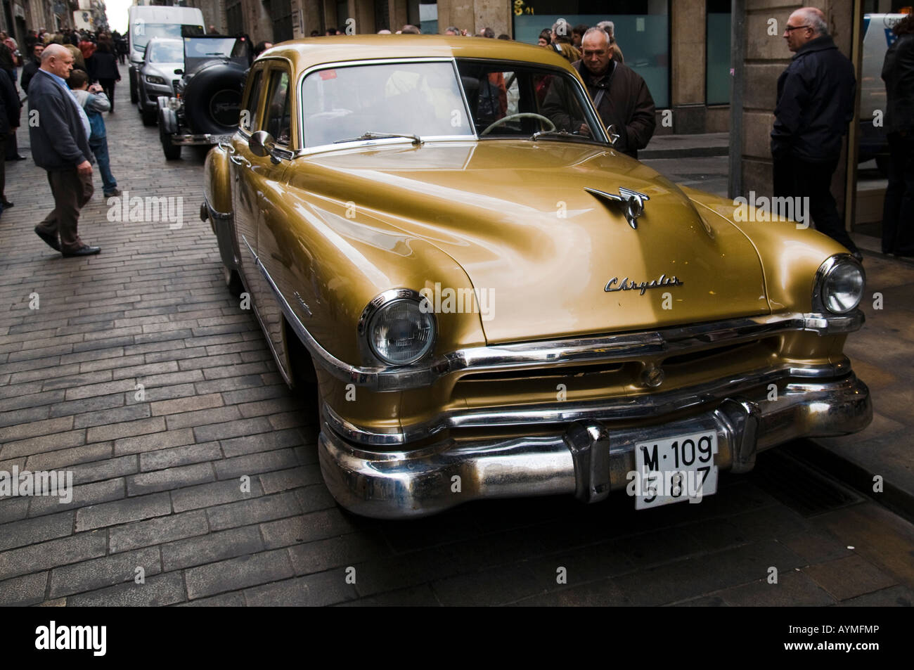 Old Chrysler Car During The Barcelona Sitges Vintage Cars Rally