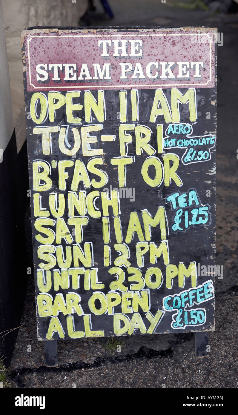 Pub notice board, with daily food menu. - Stock Image