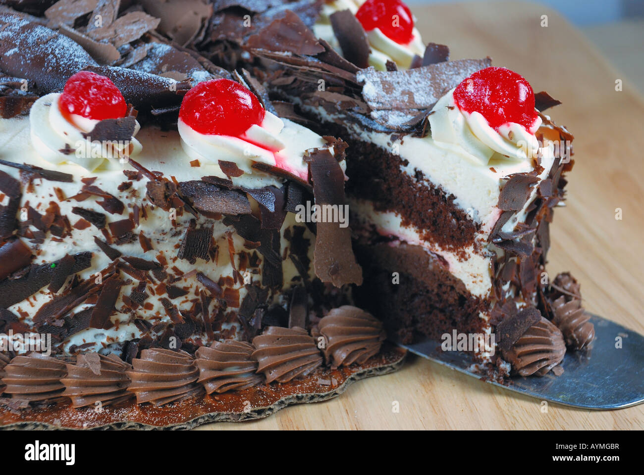 chocolate cake with cherries Stock Photo