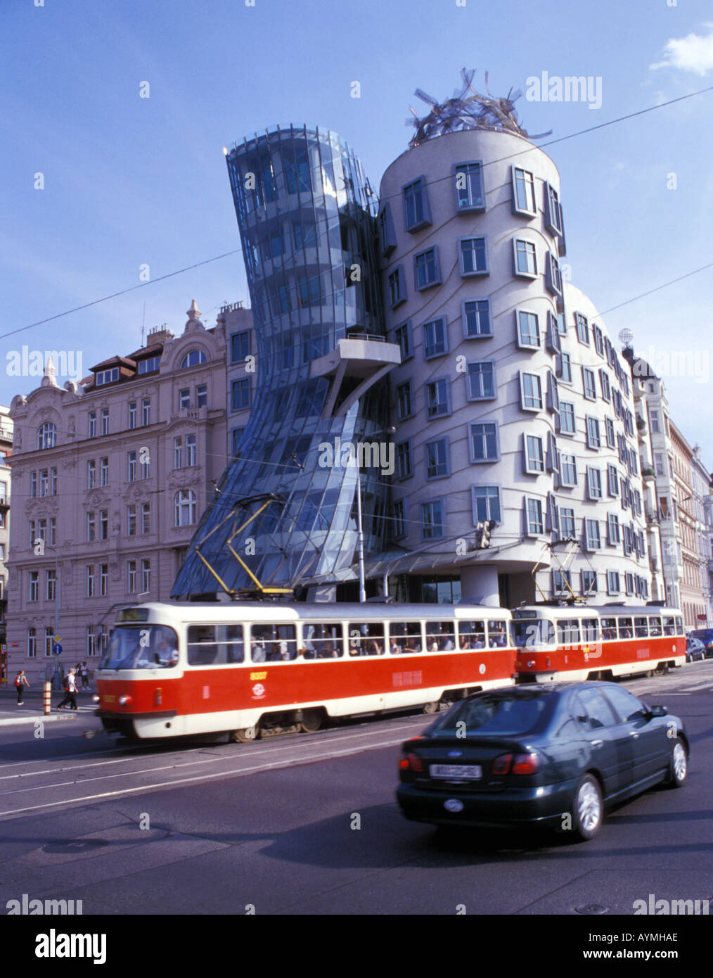 Czech Republic, Prague, Ginger and Fred Building by architect Frank Gehry - Stock Image