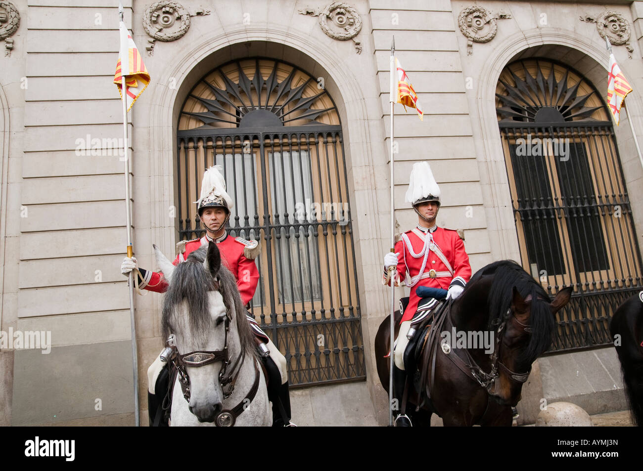 The Police mounted unit lancers of Barcelona - Stock Image