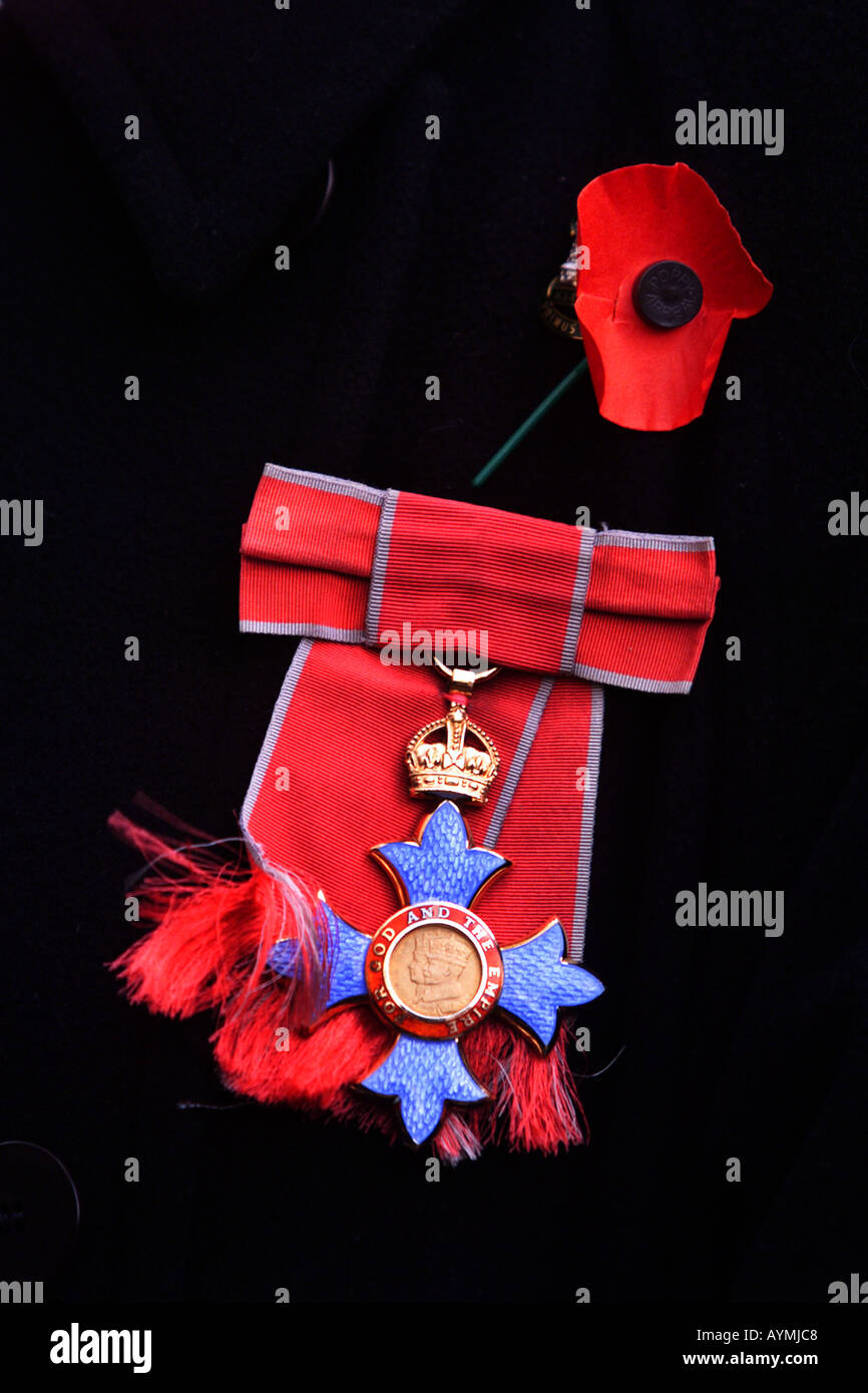 CBE medal and poppy - Stock Image