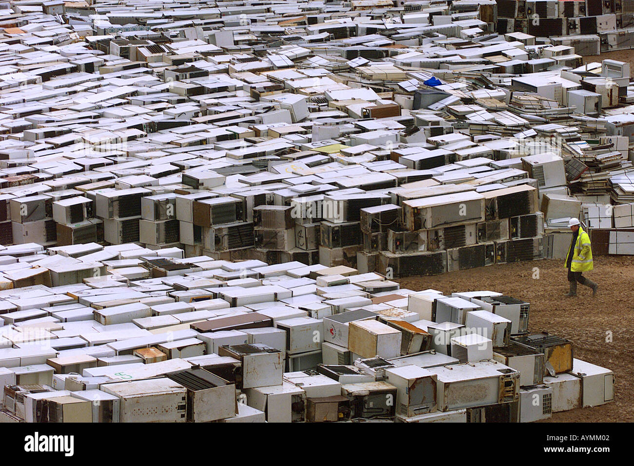 Some of the 6000 fridges at the Connon Bridge landfill site near East Taphouse in Cornwall UK Stock Photo