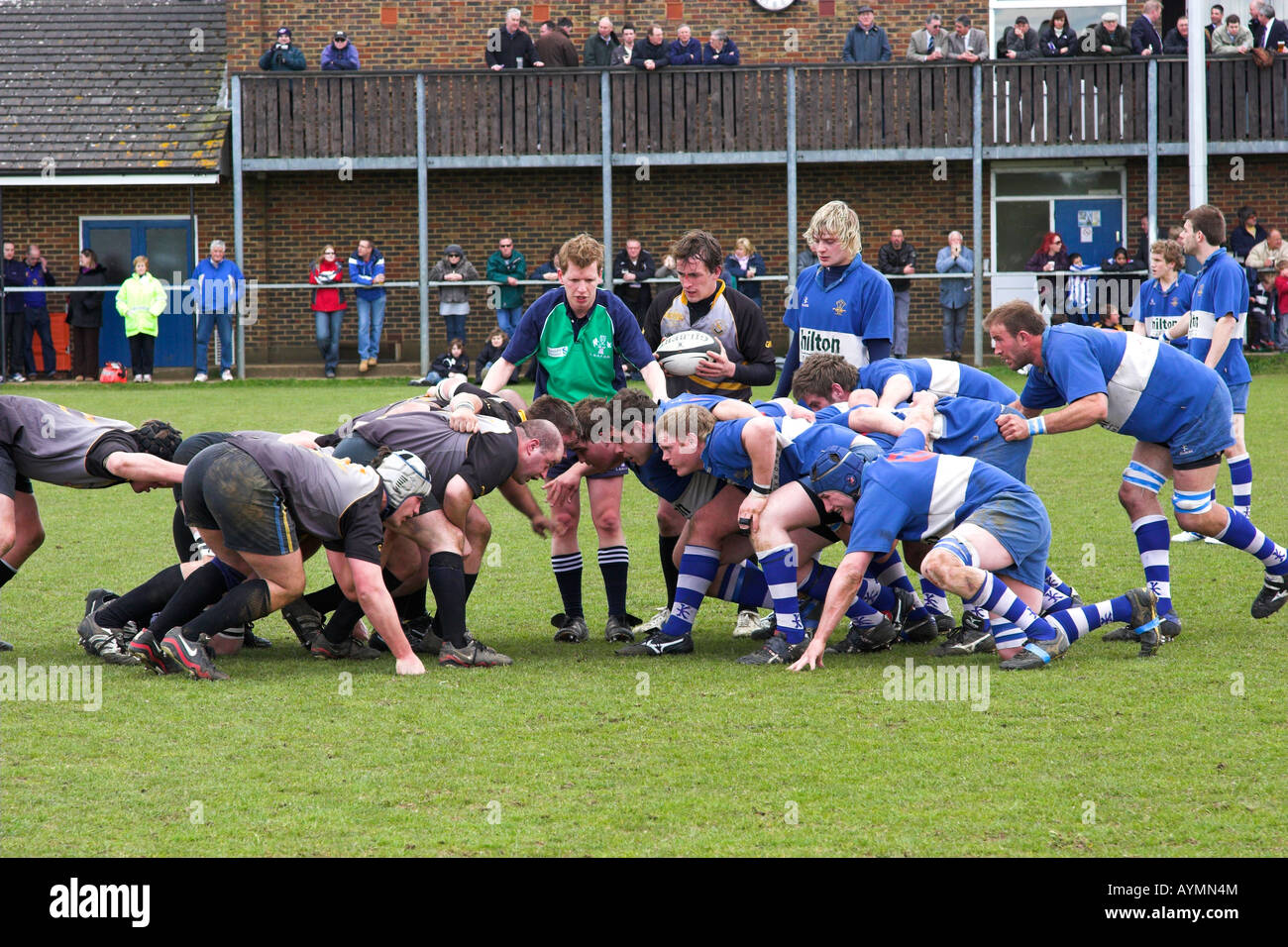 Rugby scrum. - Stock Image