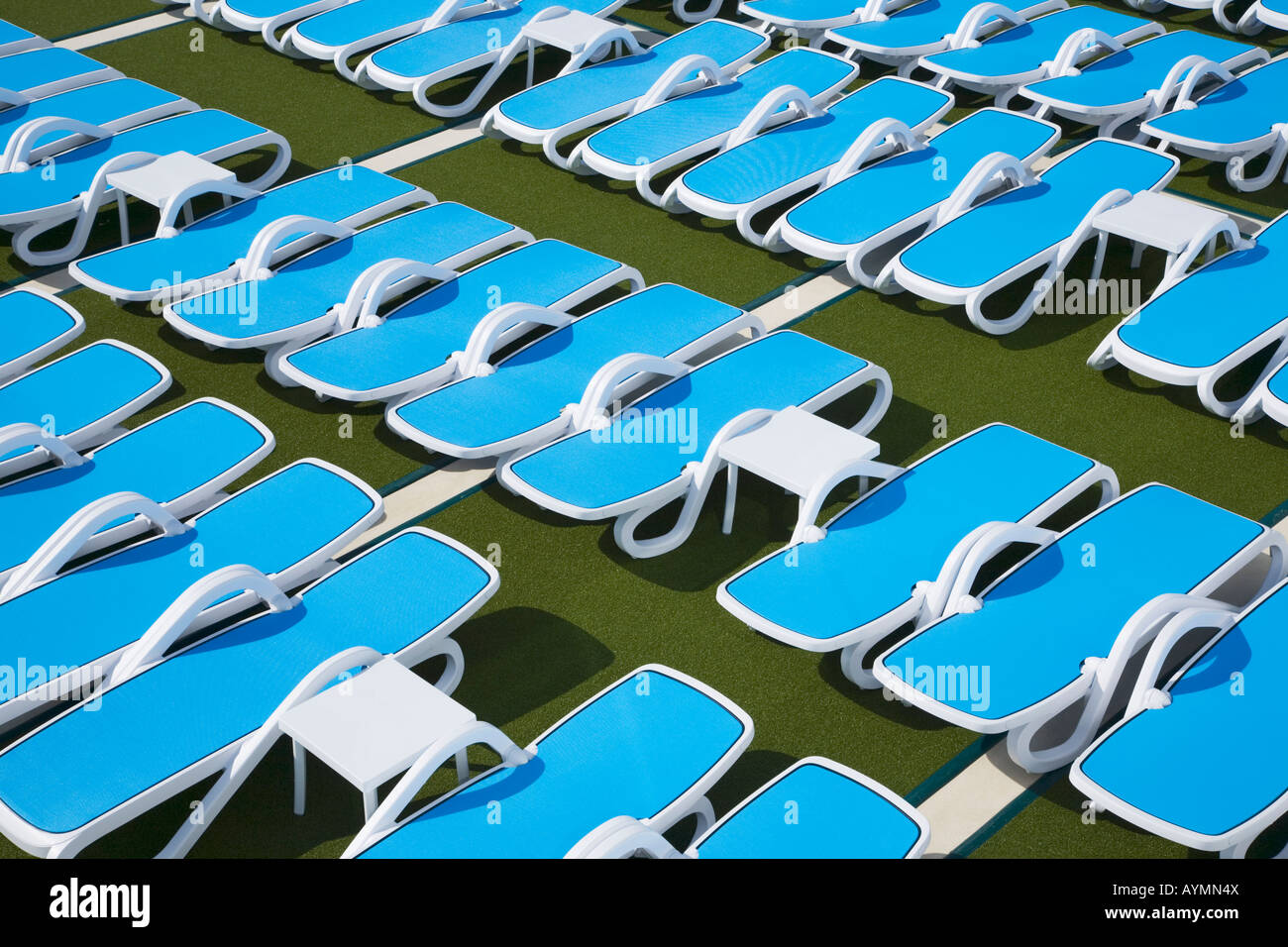 Sun loungers on deck of a Cruise Ship - Stock Image