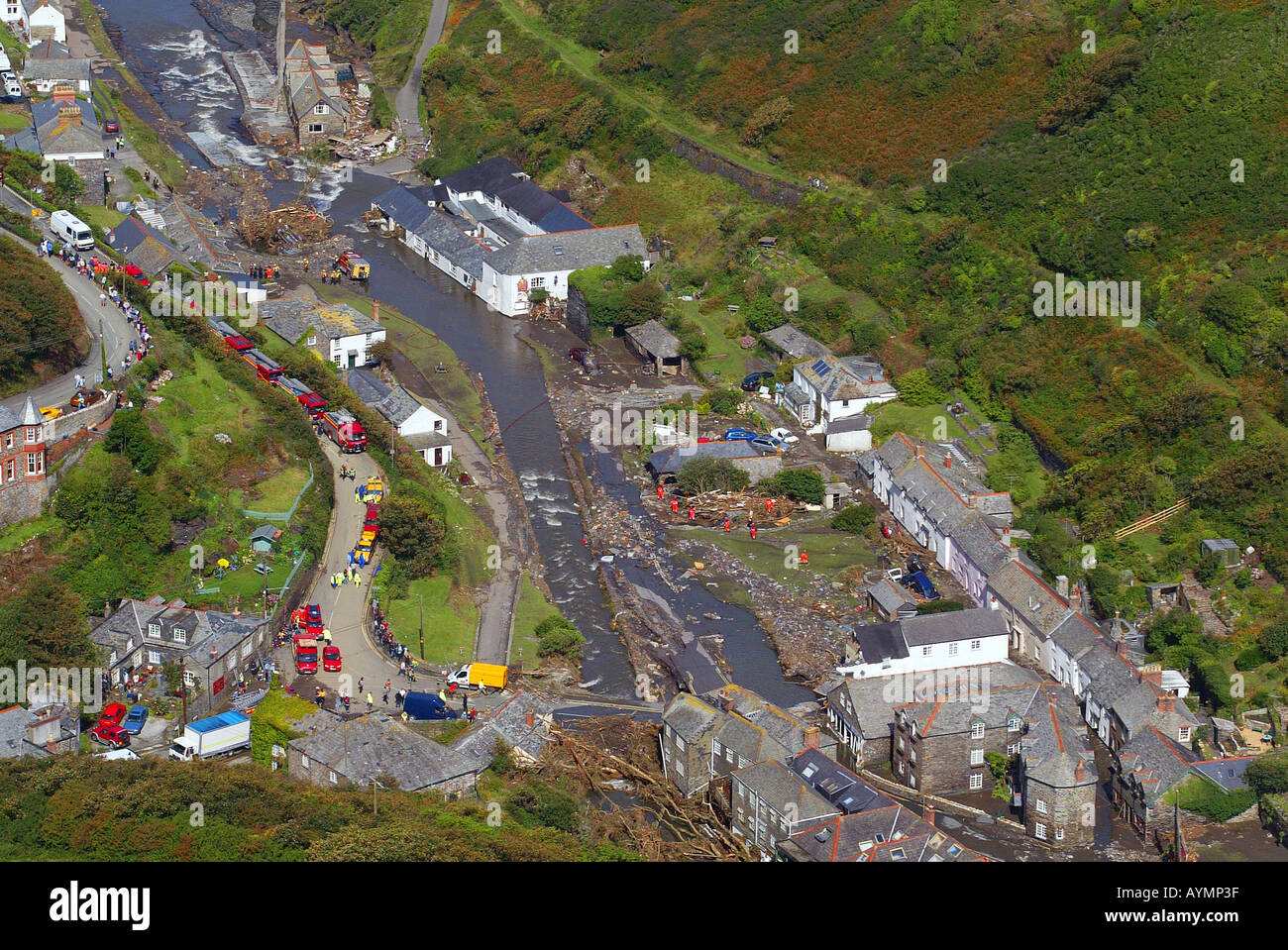 The scene at Boscastle in Cornwall UK the morning after the devastating flood - Stock Image