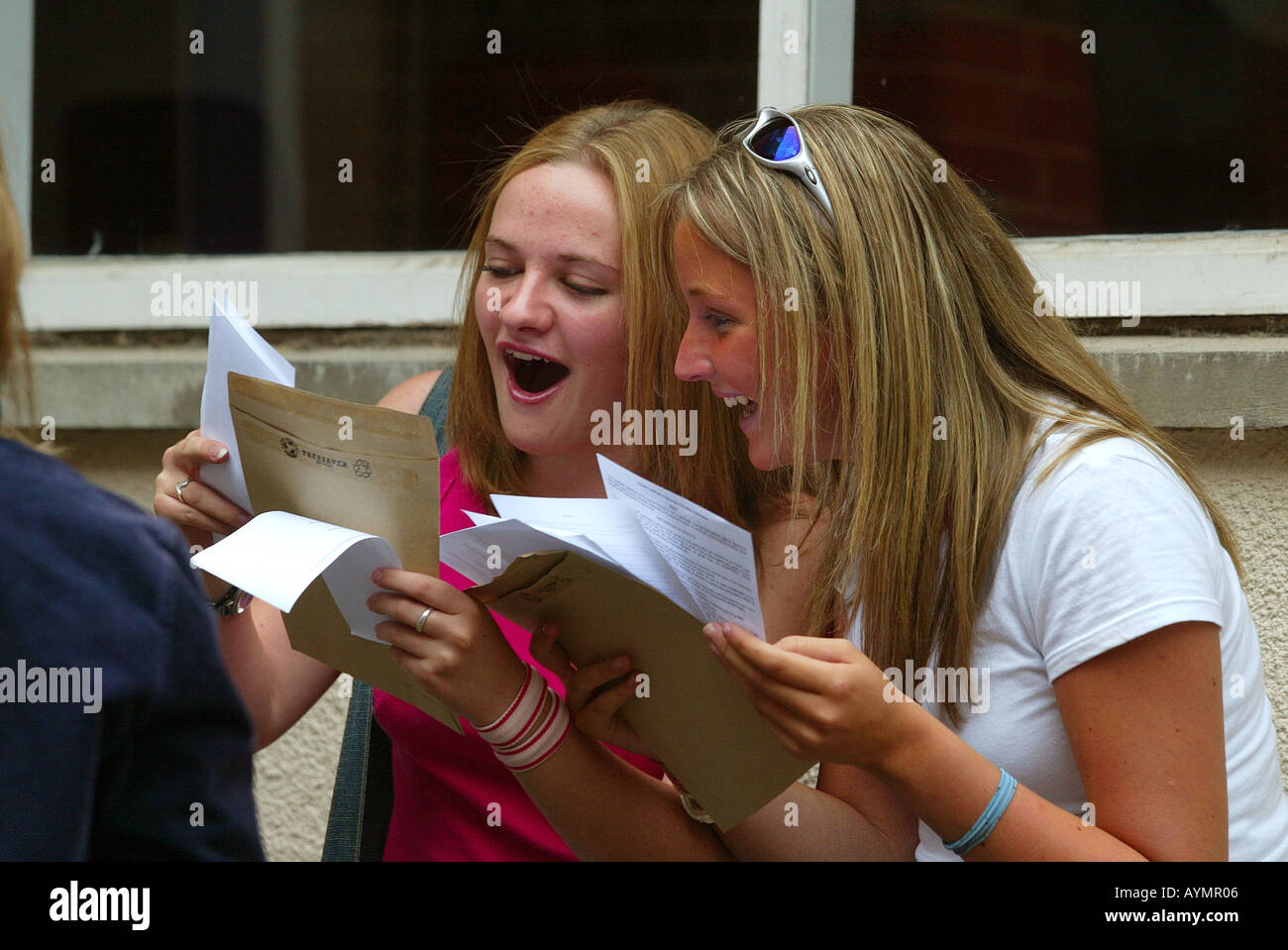 Students celebrate their GCSE exam results at Maynard's School in Exeter Devon UK *EDITORIAL USE ONLY* - Stock Image