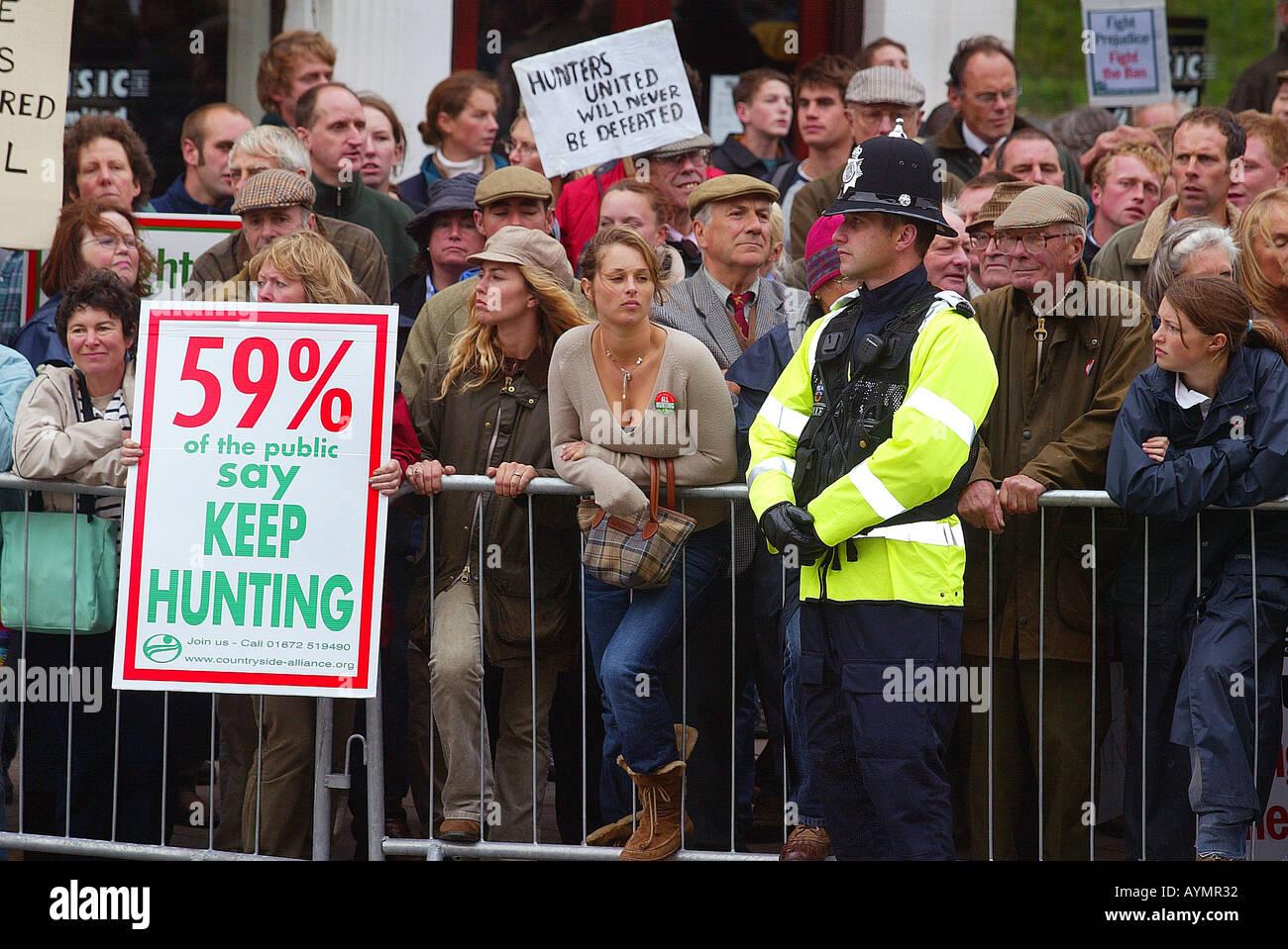 pro-hunt protestors Exeter Devon UK - Stock Image