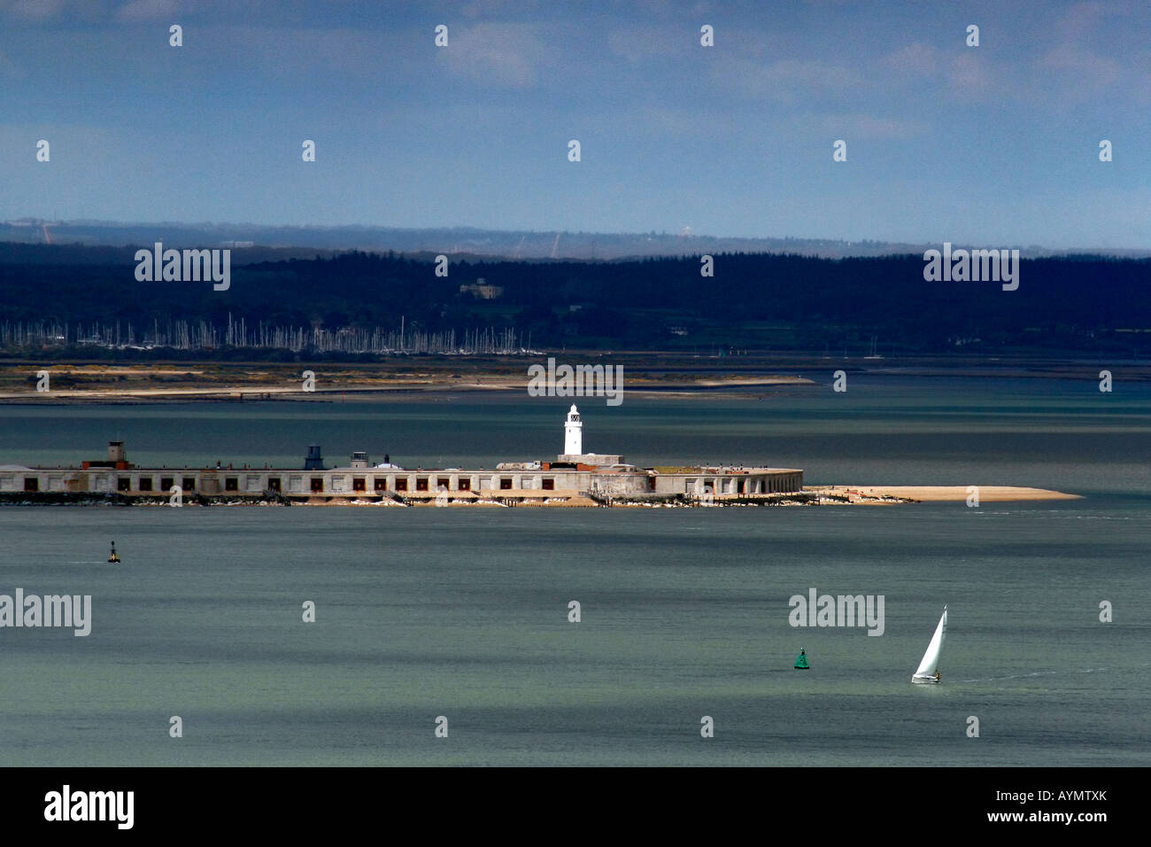 A view of the Solent from the Needles showing Hurst Castle and the Lymington river and marina in the background - Stock Image