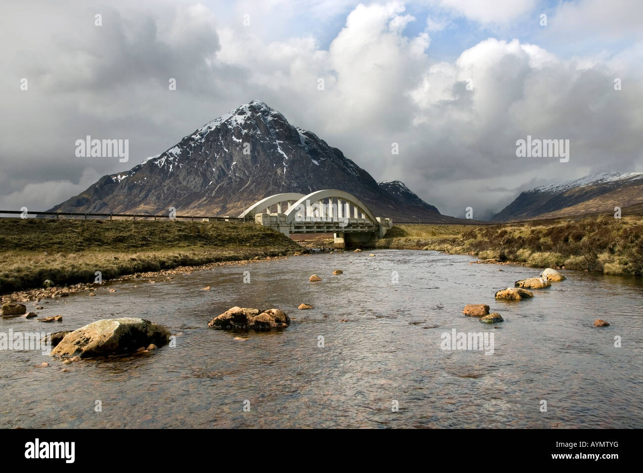 River and Road Bridge at Buachaille Etive Mor at Glencoe, Glen Coe in the Lochaber area of the Scottish Highlands, - Stock Image