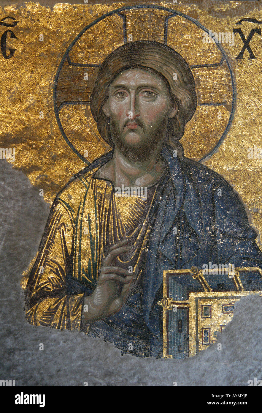 Jesus Christ depicted in the Byzantine mosaic in the interior of Hagia Sophia in Istanbul, Turkey Stock Photo
