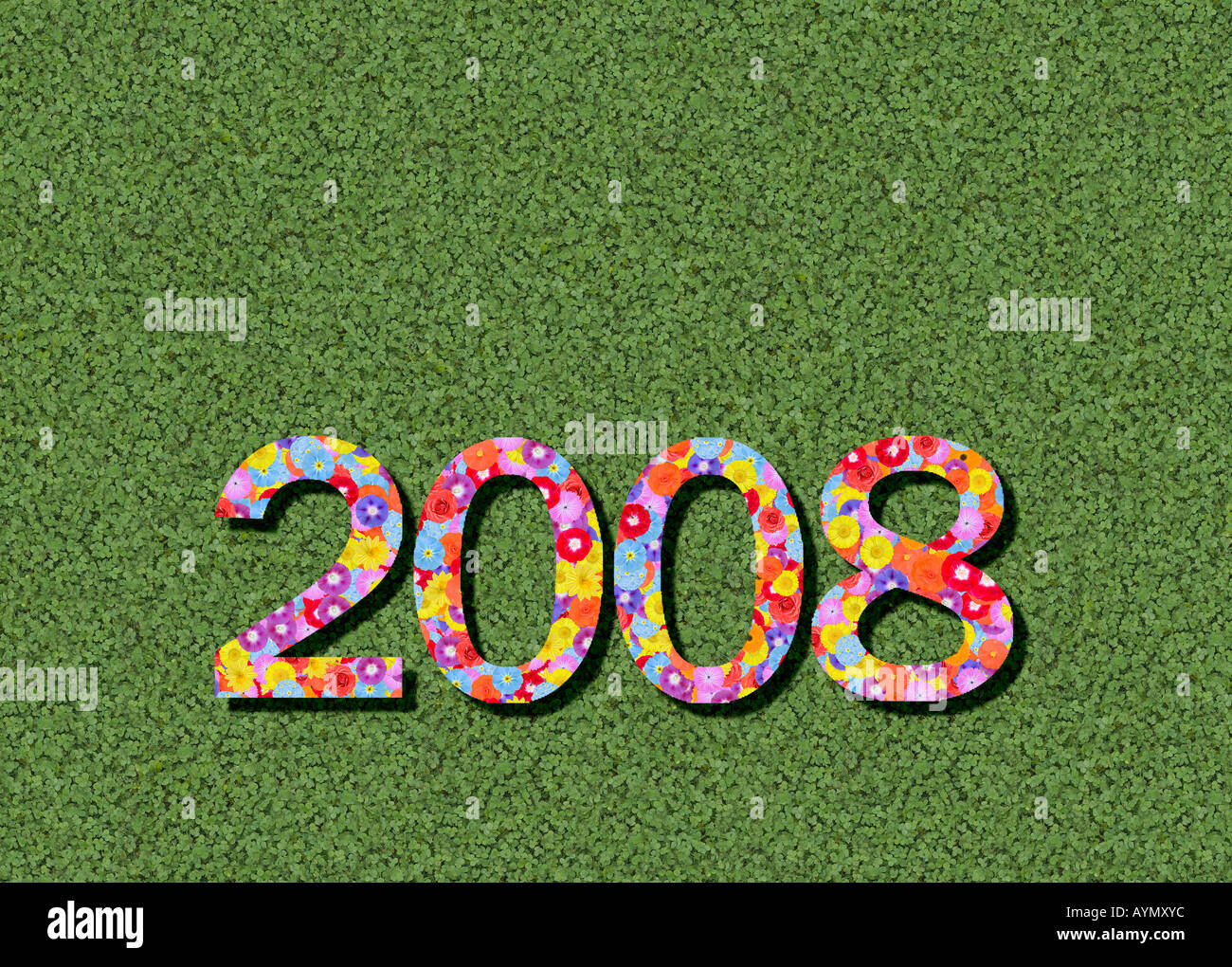 year 2008 spelled out prewritten edited - Stock Image