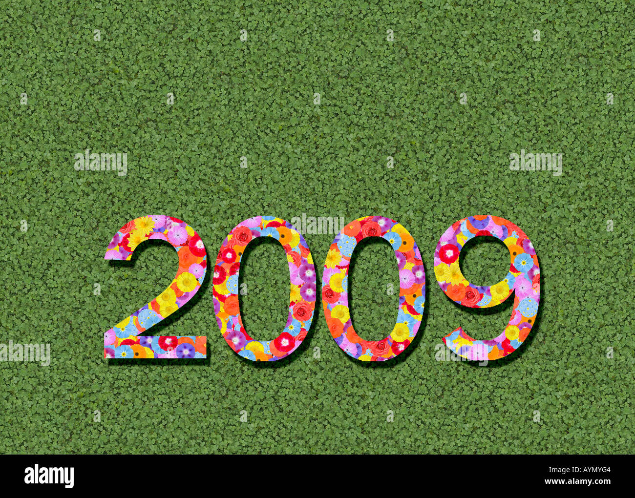 year 2009 spelled out prewritten edited - Stock Image